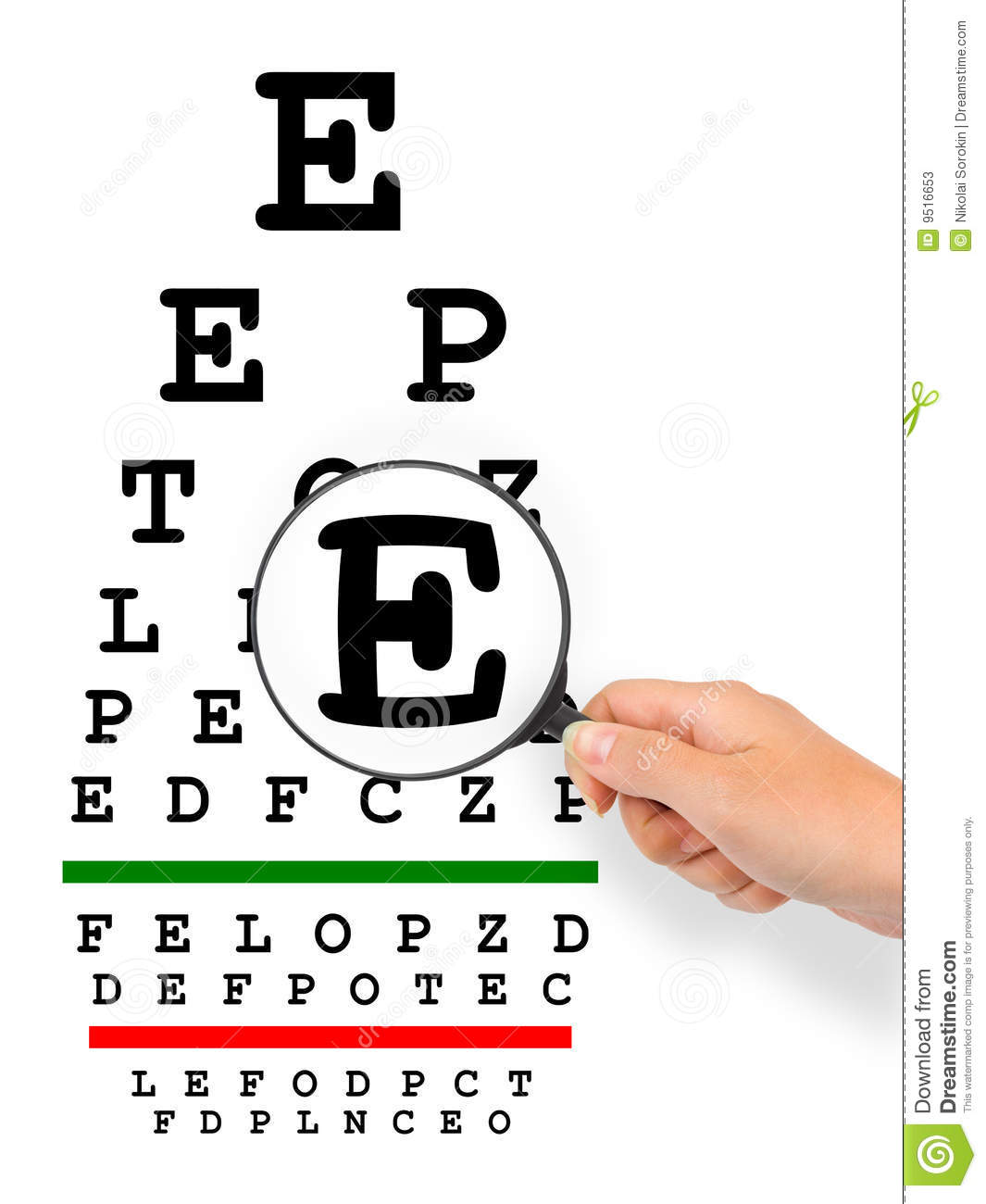 Hand With Magnifier And Eyesight Test Chart Stock Photos