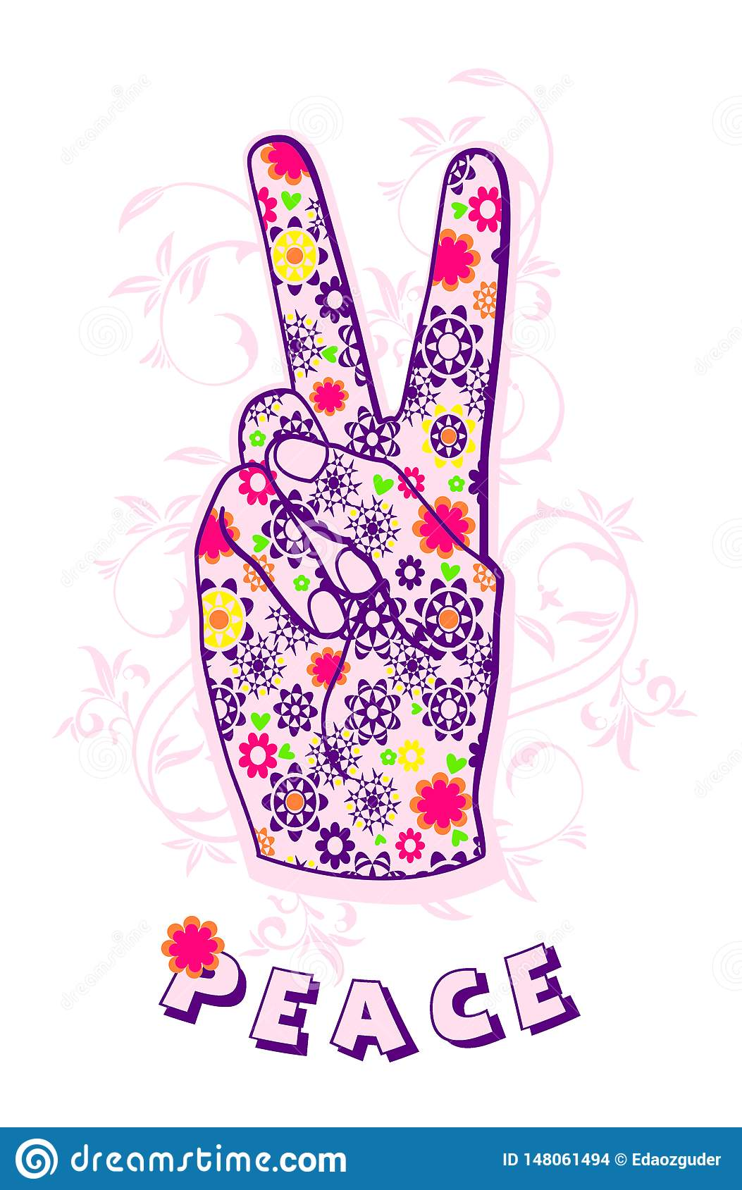 hand making peace sign, tee shirt graphic