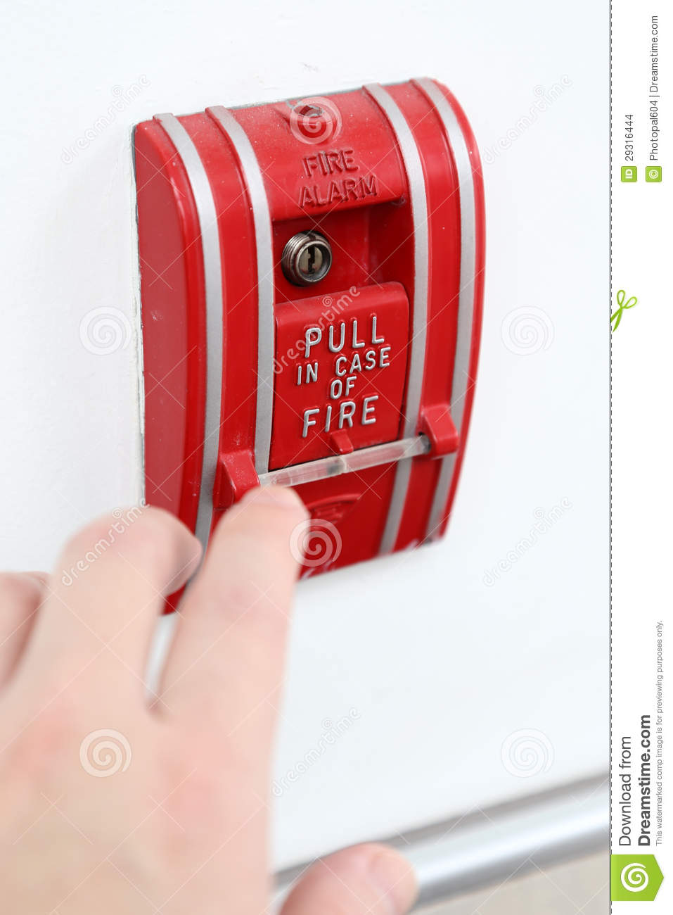 The Hand Of Man Is Pulling Fire Alarm Stock Photo Image
