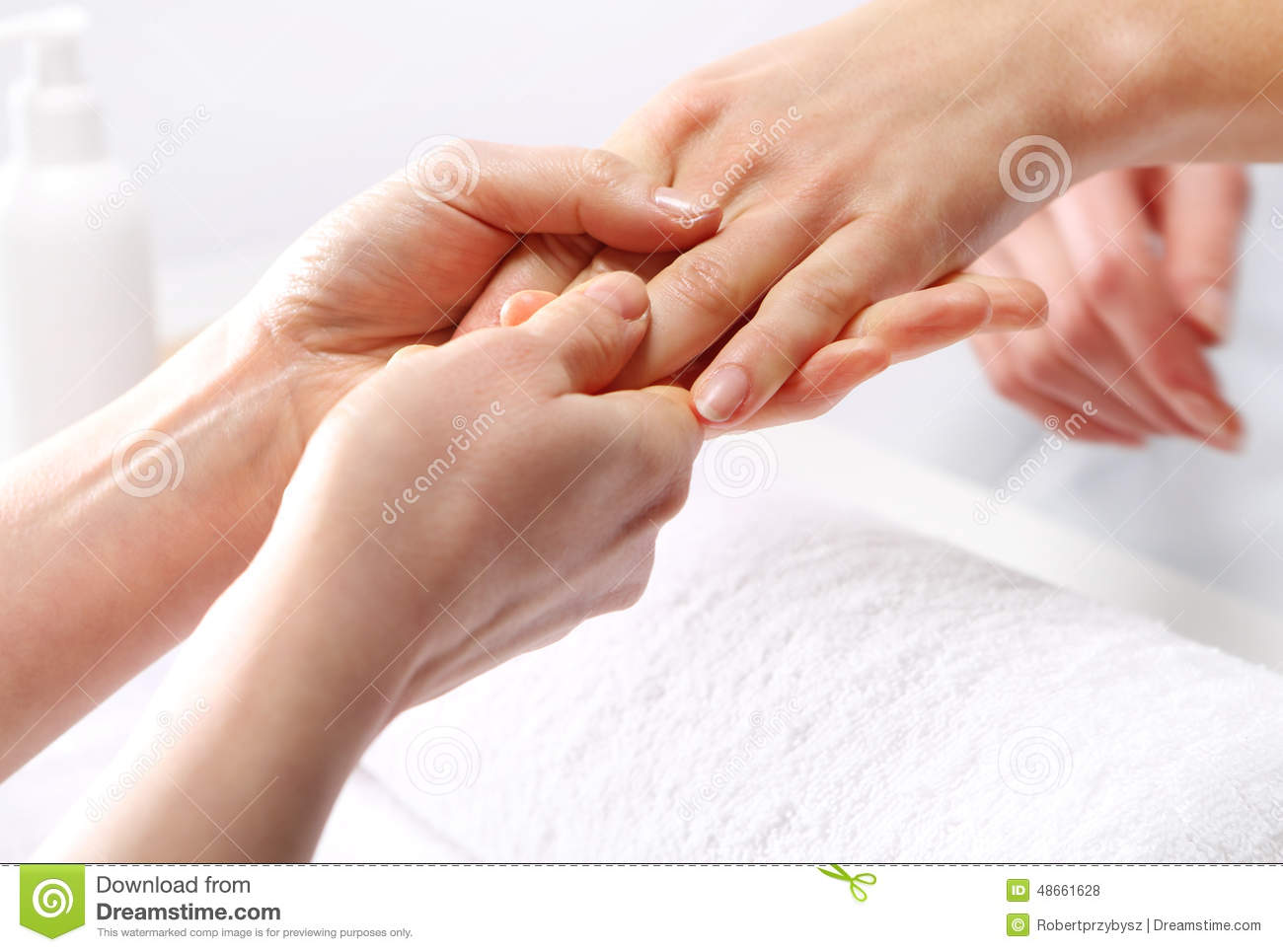 Hand Massage A Woman In The Beauty Salon Stock Photo