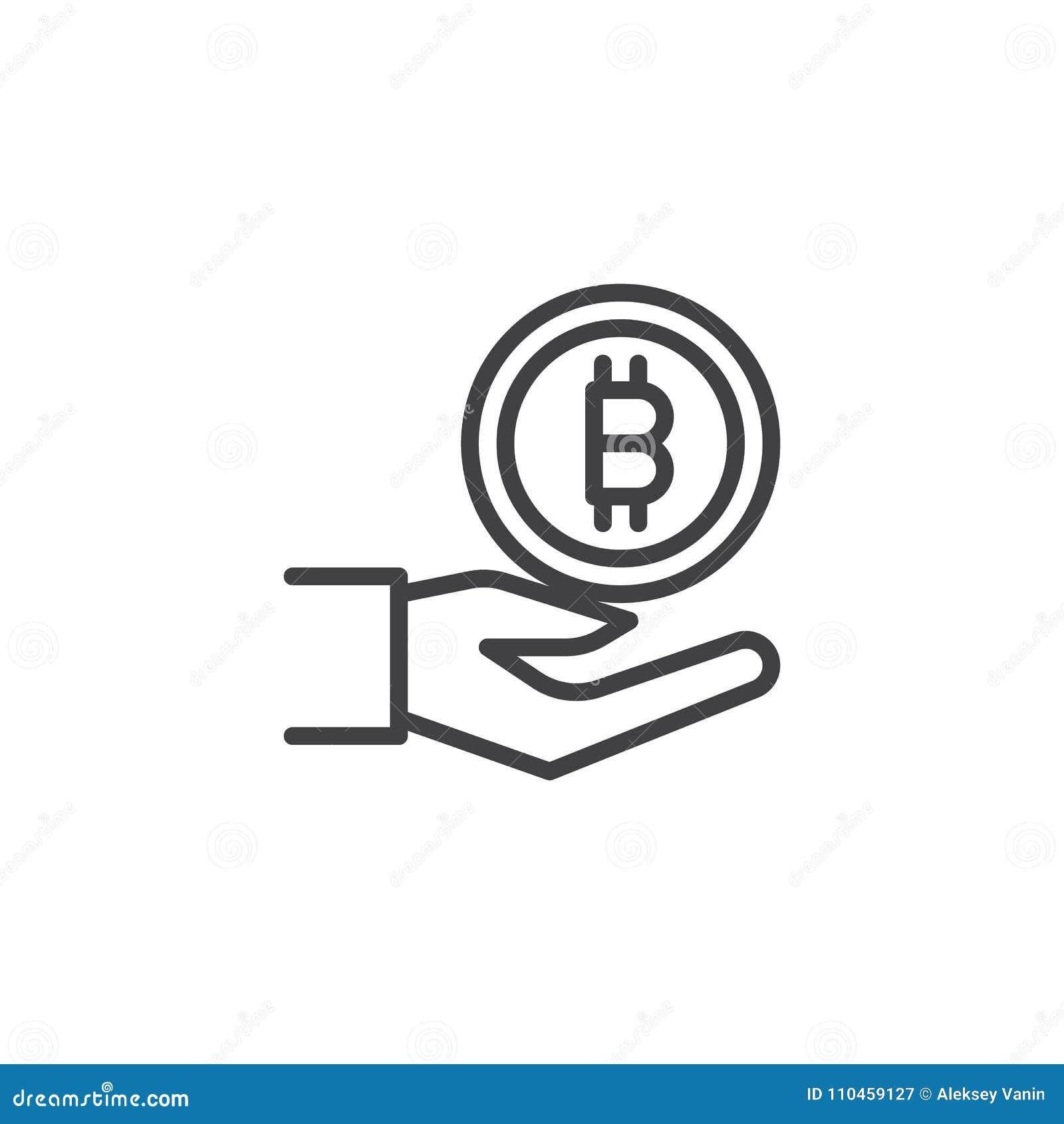 Hand med bitcoinöversiktssymbolen