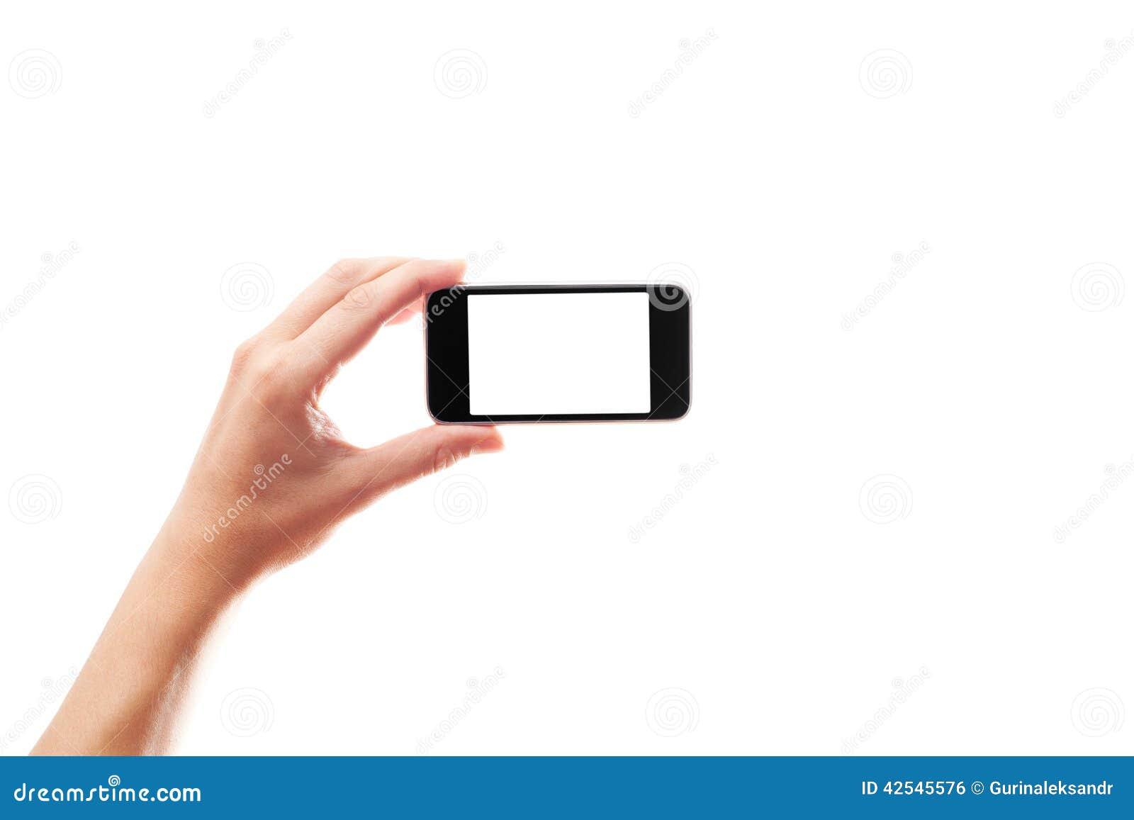Hand med en smartphone