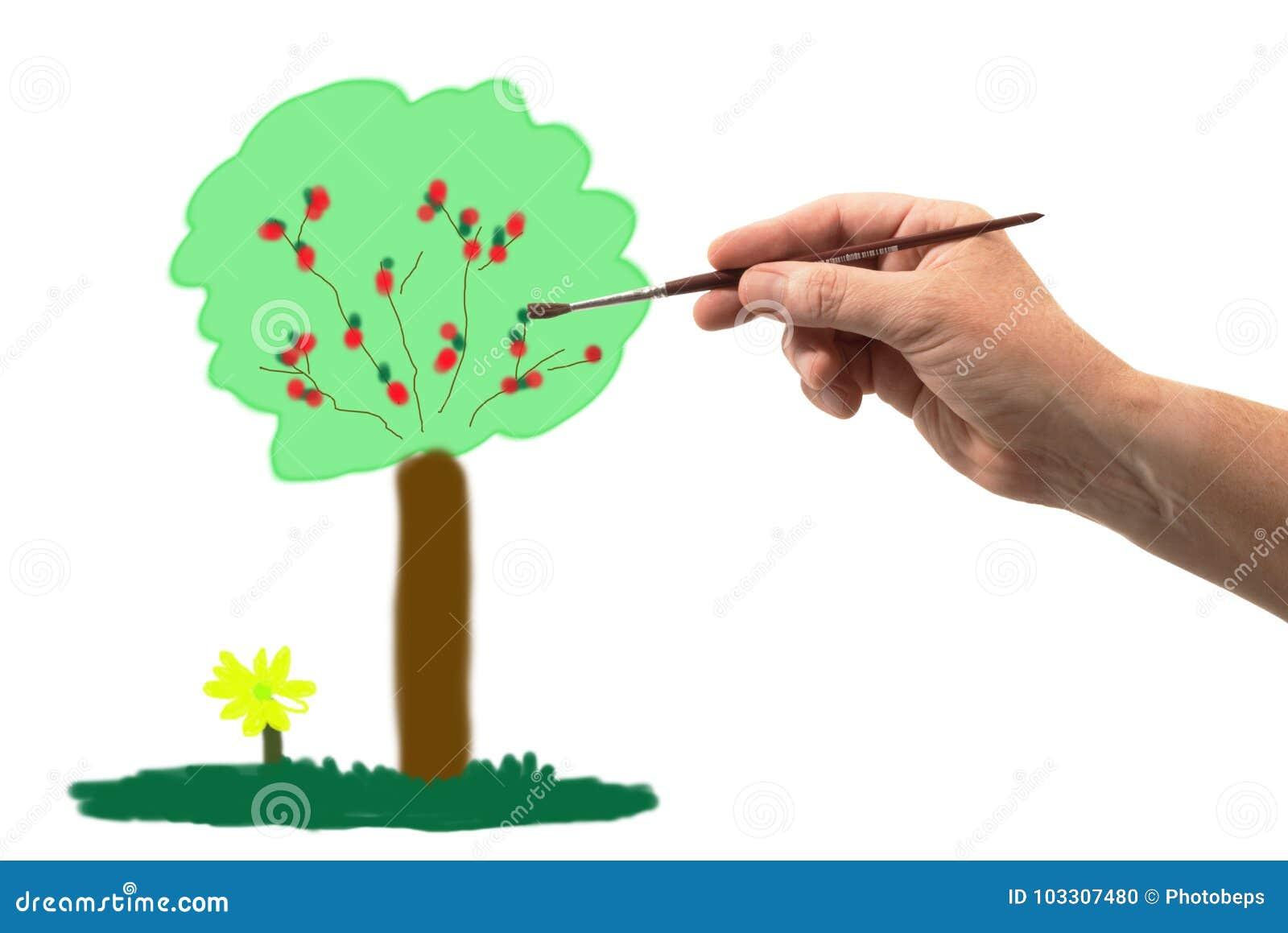 Hand met borstel die een boom trekken