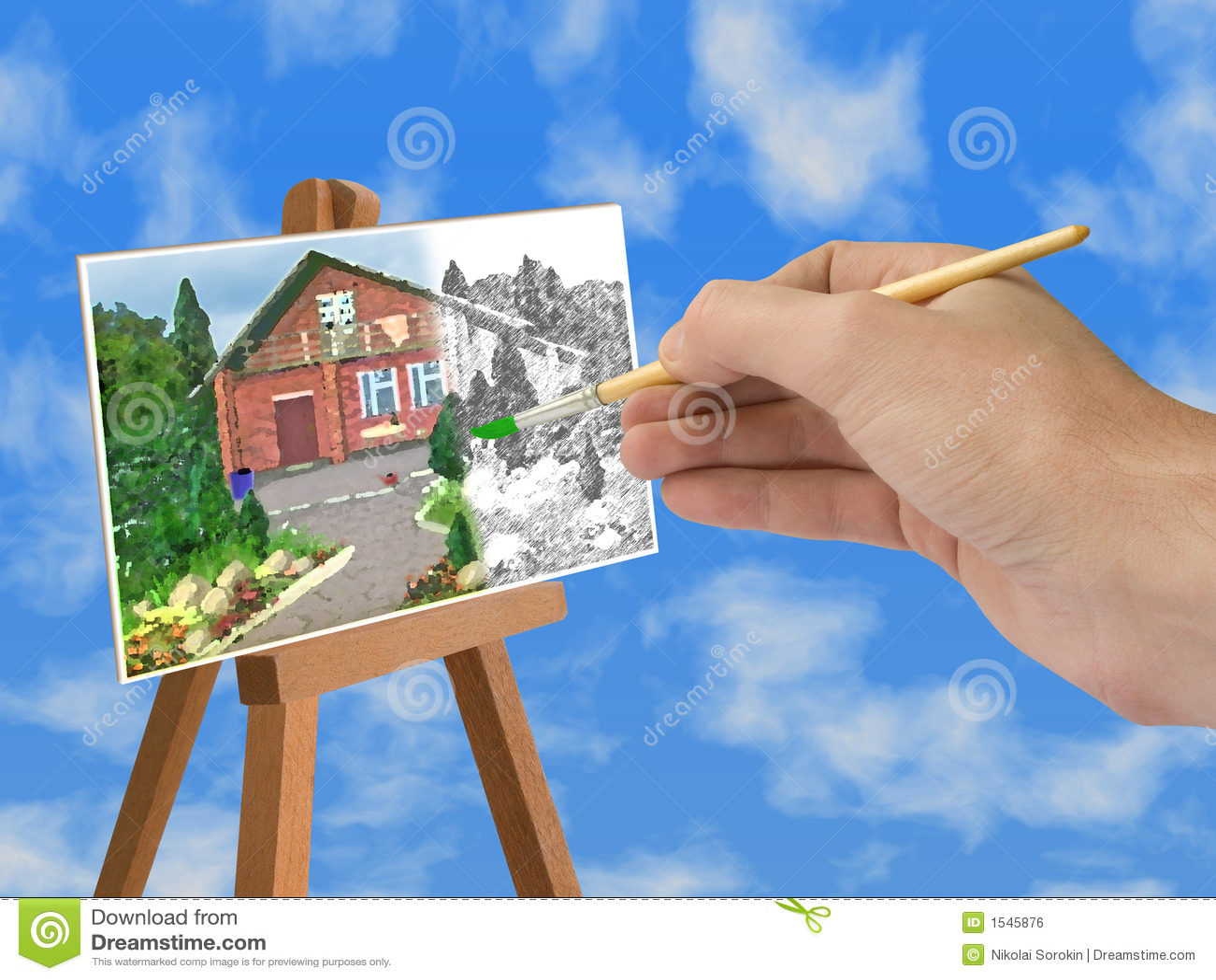 Hand met borstel, huis op papier