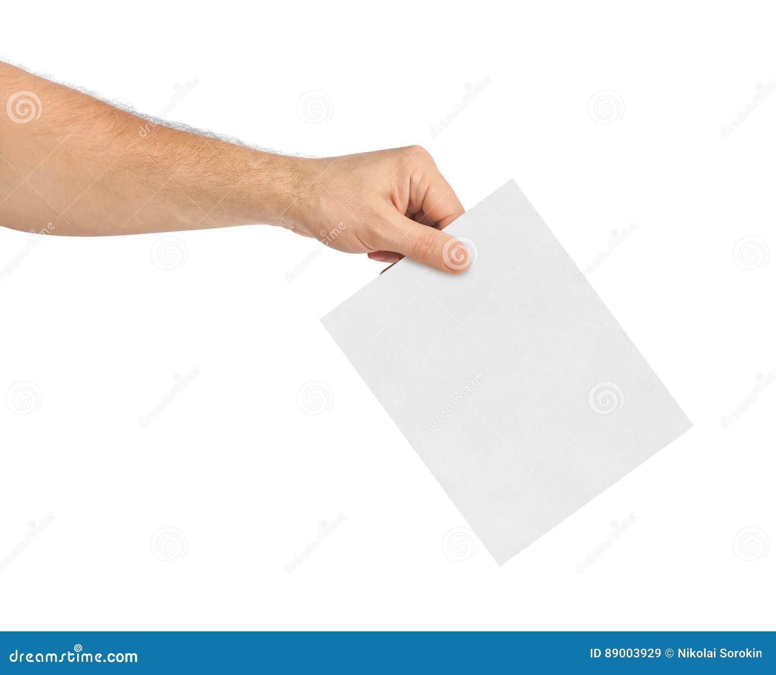 Hand met document stemming