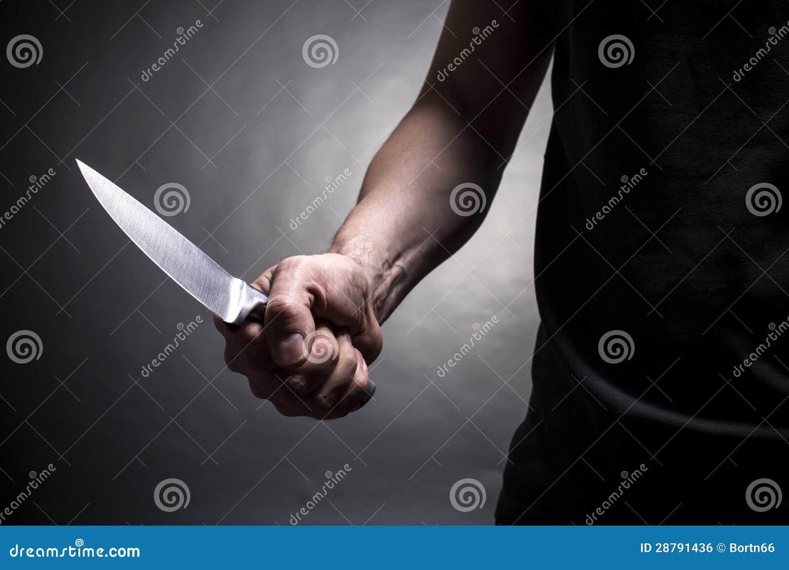 Hand met een mes
