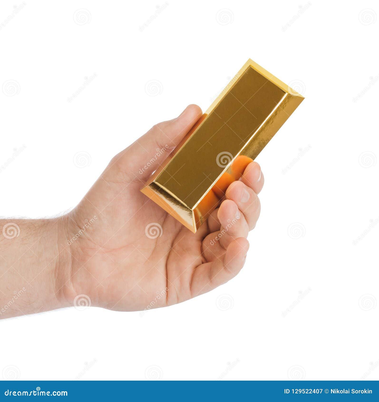 Hand met gouden bar