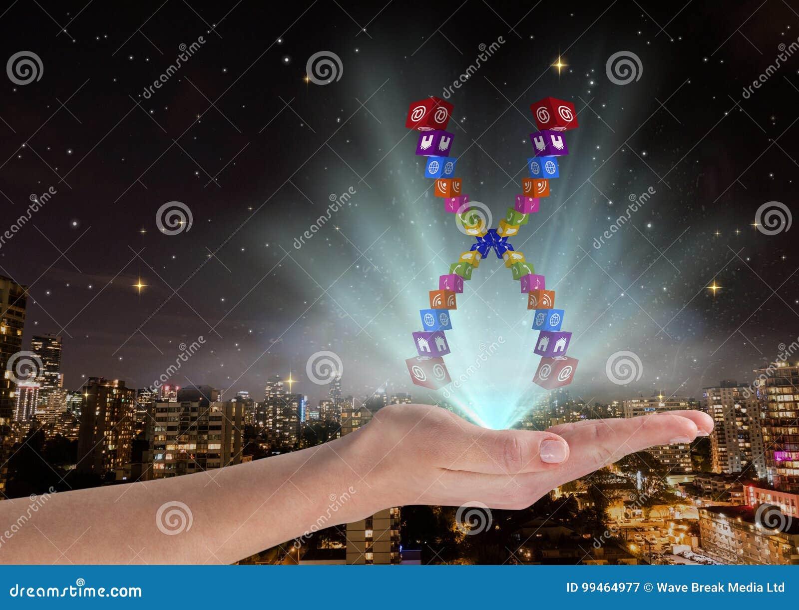 Hand met het chromosoom van toepassingspictogrammen over en met blauwe lichten Voor vage stad bij nacht