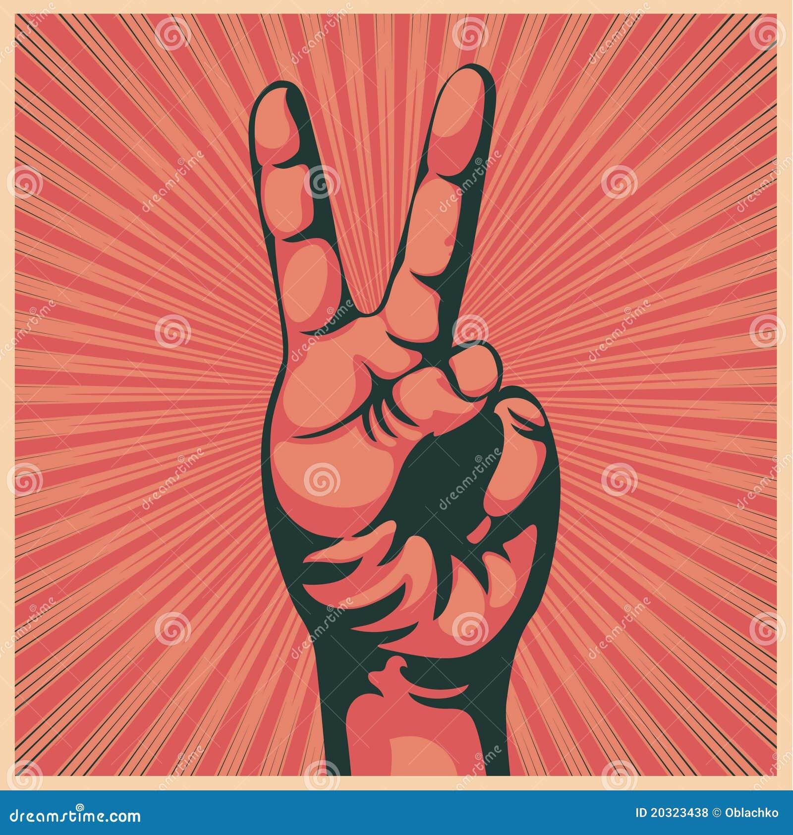 Hand met overwinningsteken