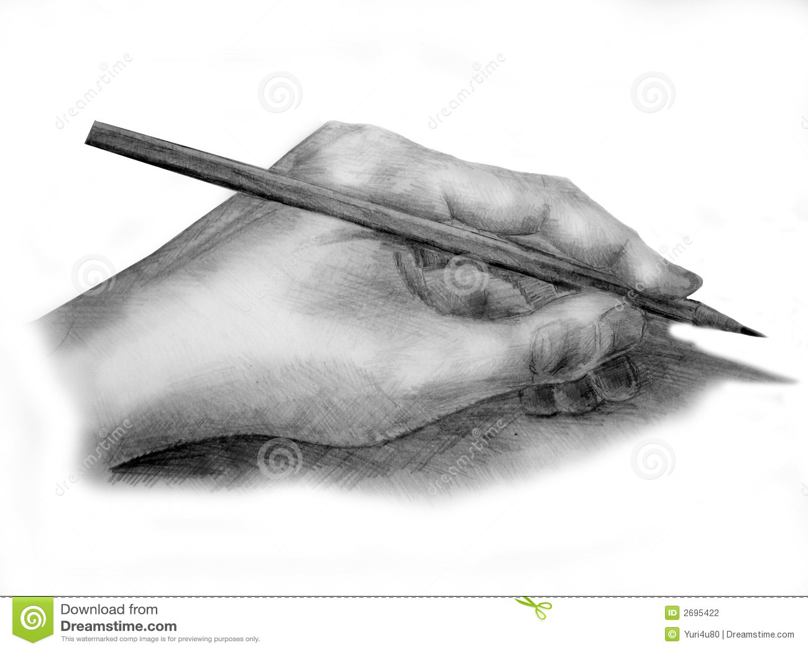 Hand met potlood