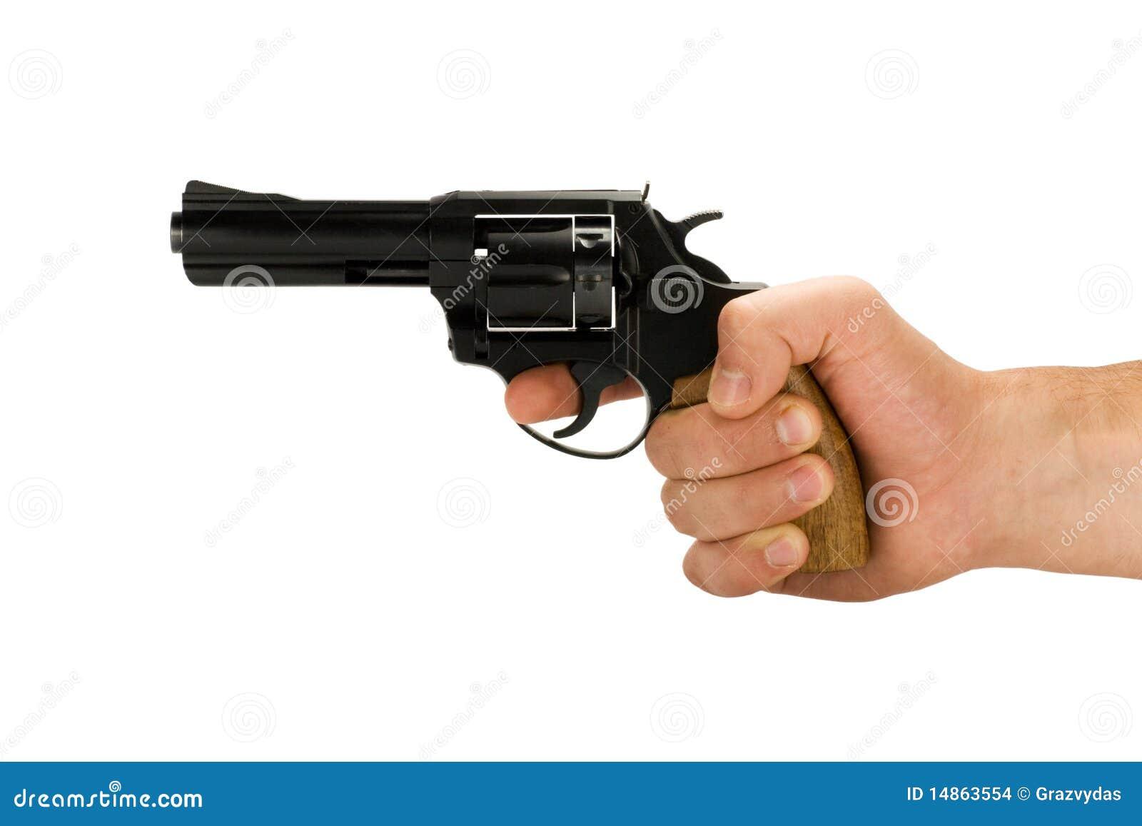 Hand met revolverkanon