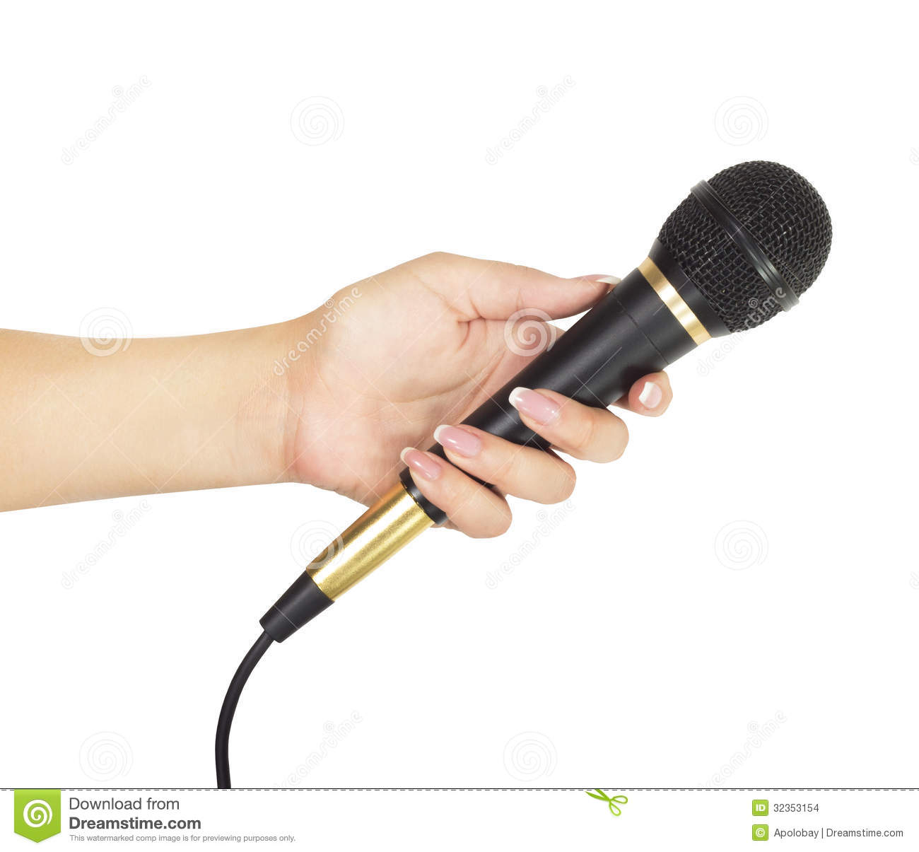 Microphone In Hand : Hand with microphone isolated on white background stock