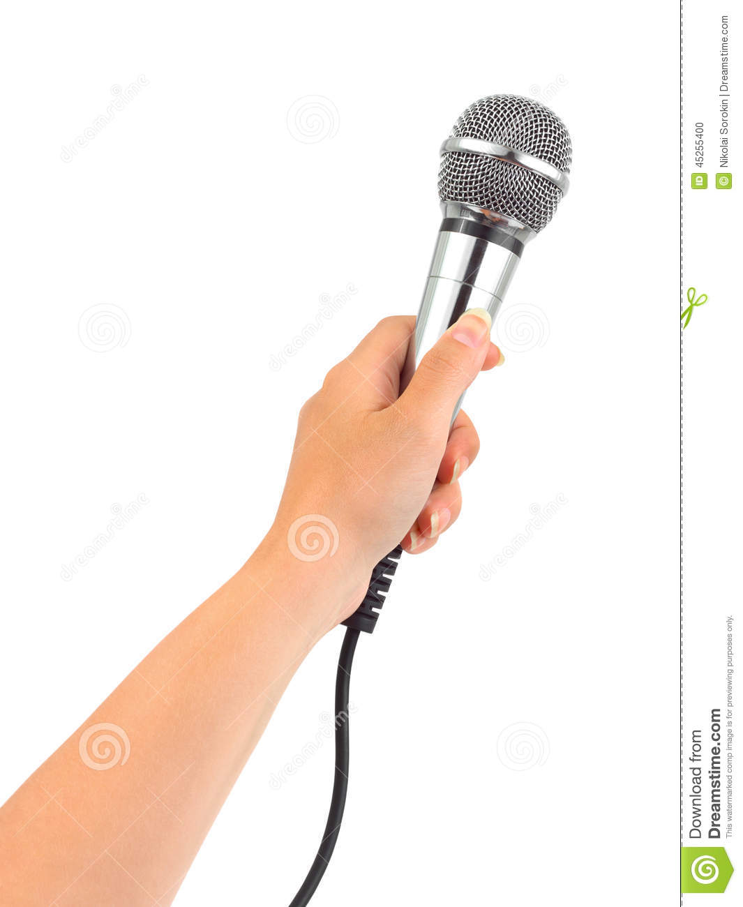 Microphone In Hand : Hand with microphone stock photo image