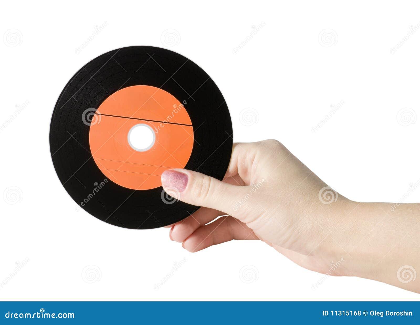 Hand mit einem Rekordalbum