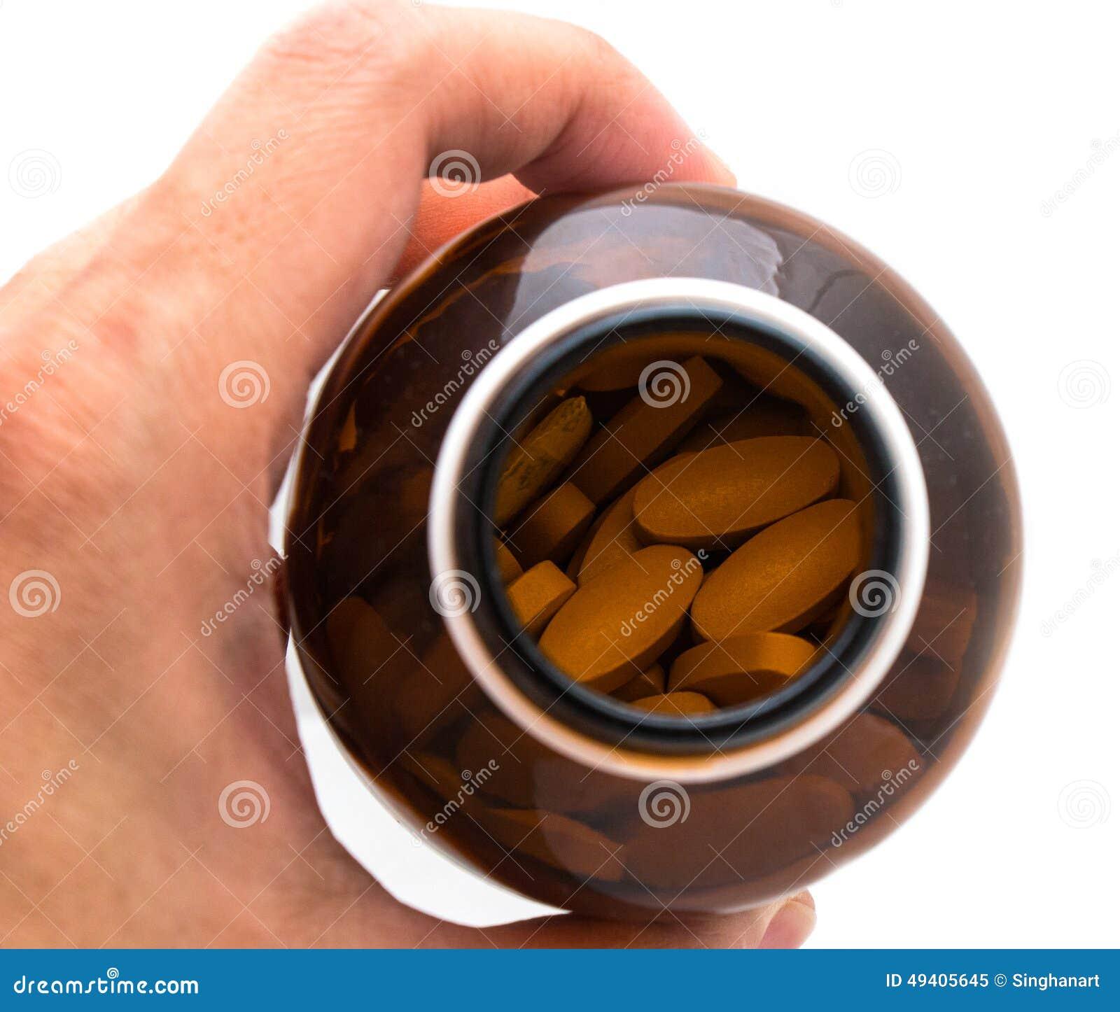 Download Hand Mit Flasche Pillen Lokalisiert Auf Weiß Stockbild - Bild von öffnung, knöchel: 49405645