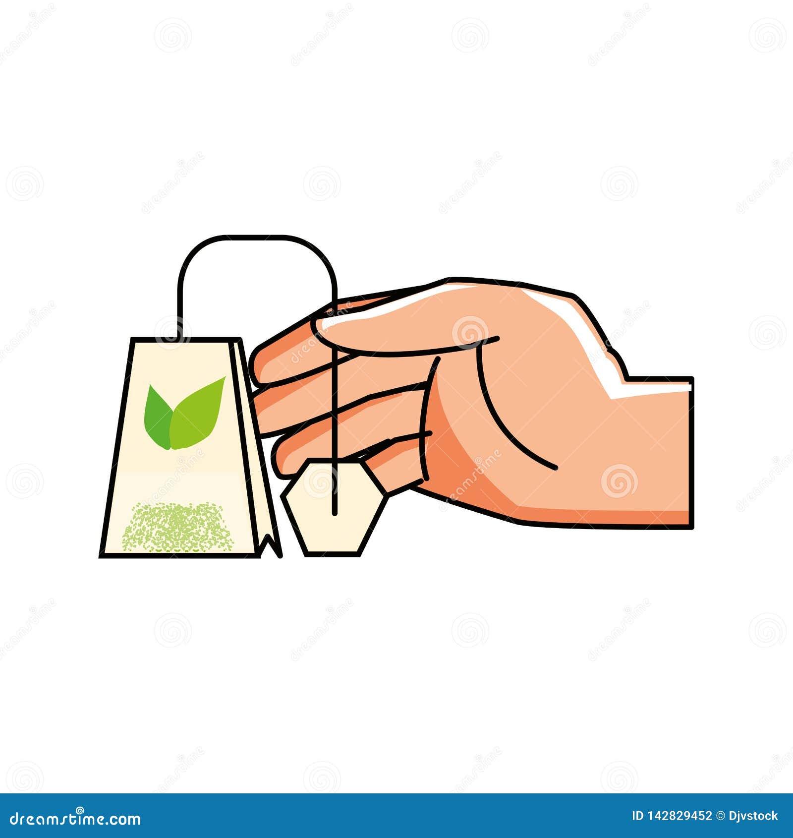 Hand mit Tasche des Teekrauts