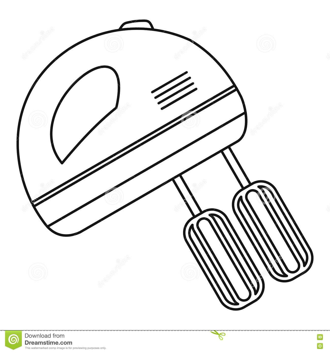 Cartoon Kitchen Mixer ~ Hand mixer icon outline style stock vector illustration