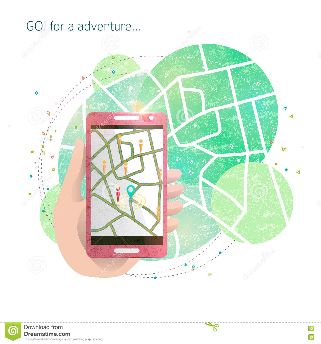 Hand With Mobile Phone And Gps Maps Stock Vector Illustration Of