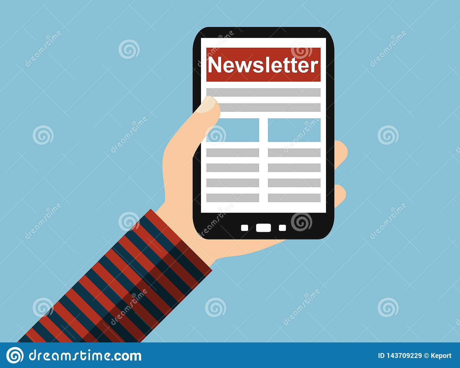 Hand with mobile phone: Newsletter - Flat Design