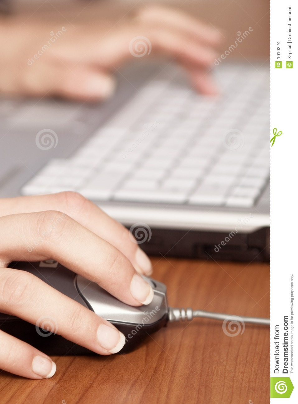 Download Hand On Mouse And Keyboard Blured Stock Photo - Image of mouse, nails: 1010224