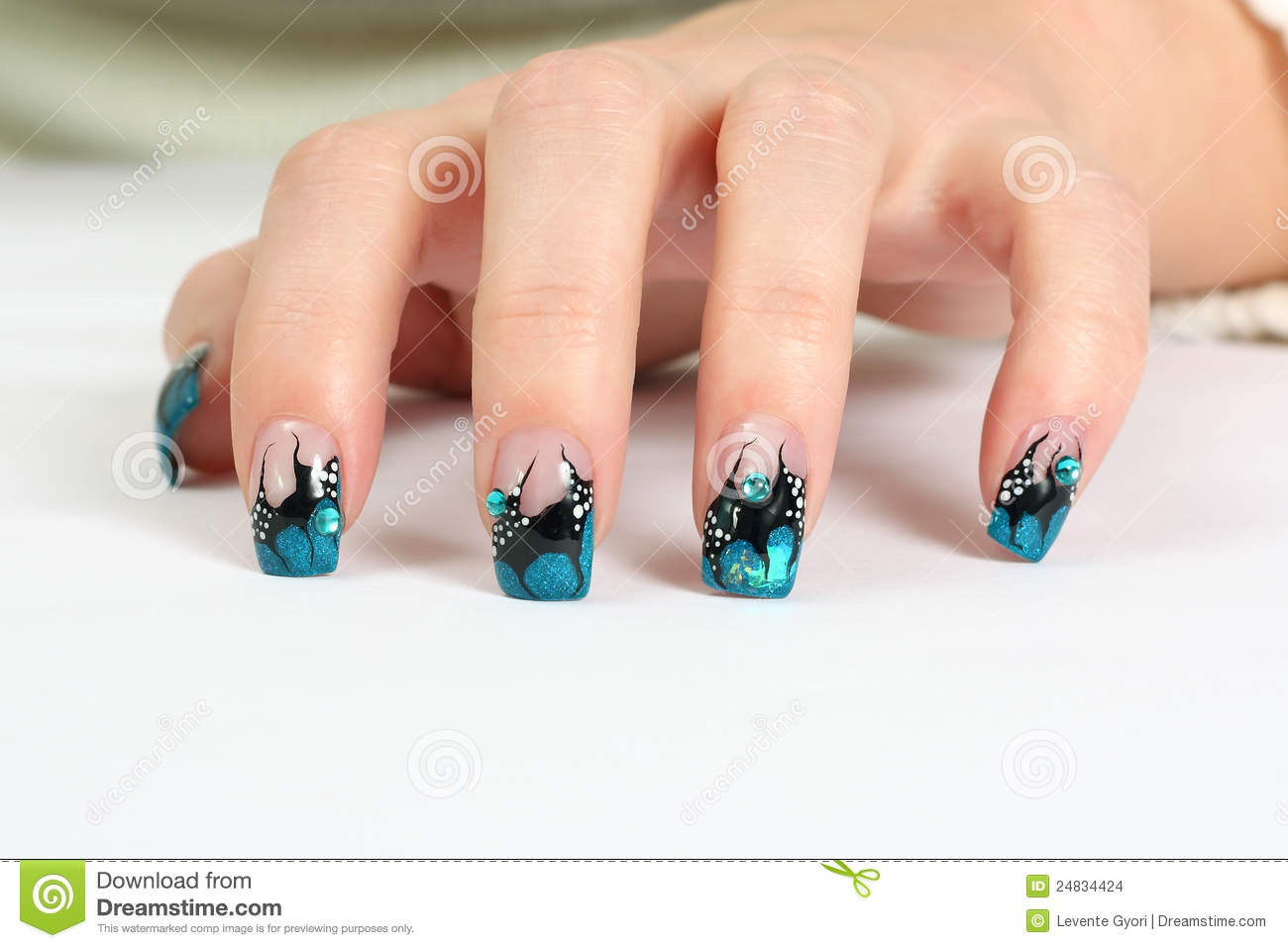 Hand with nail art stock photo. Image of hand, colorful - 24834424