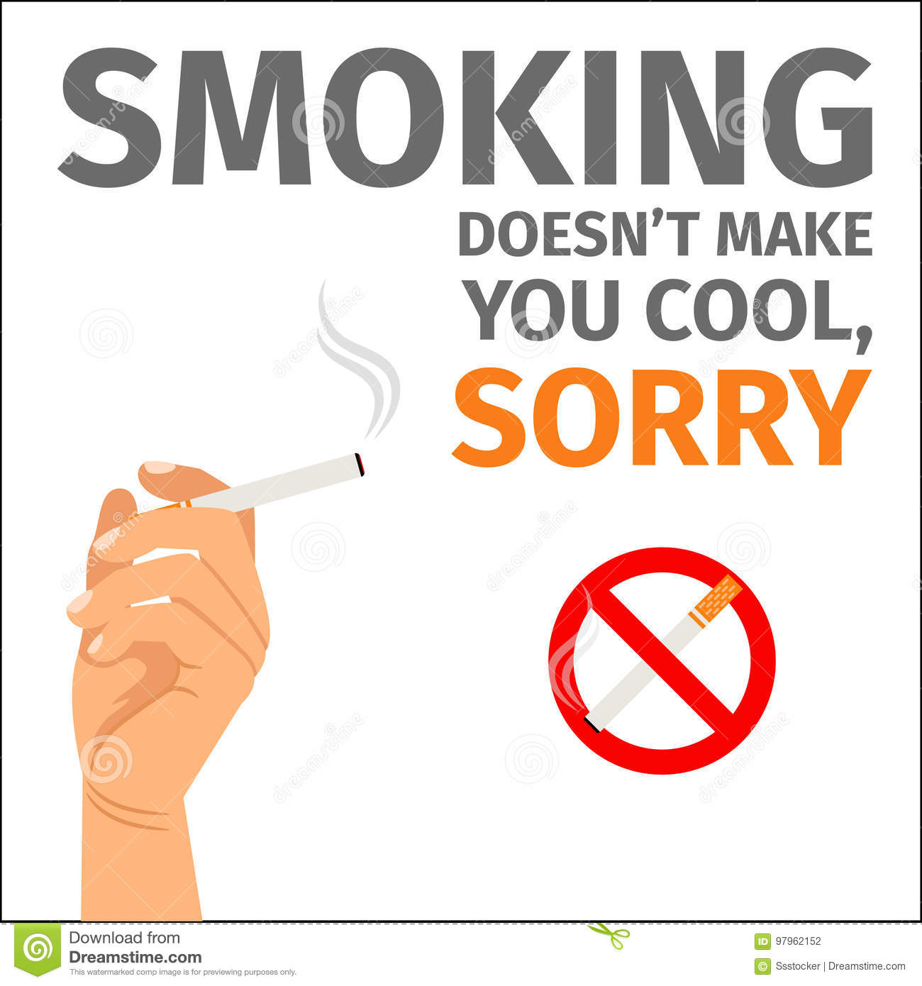 hand and no smoking sign poster stock vector illustration of hand