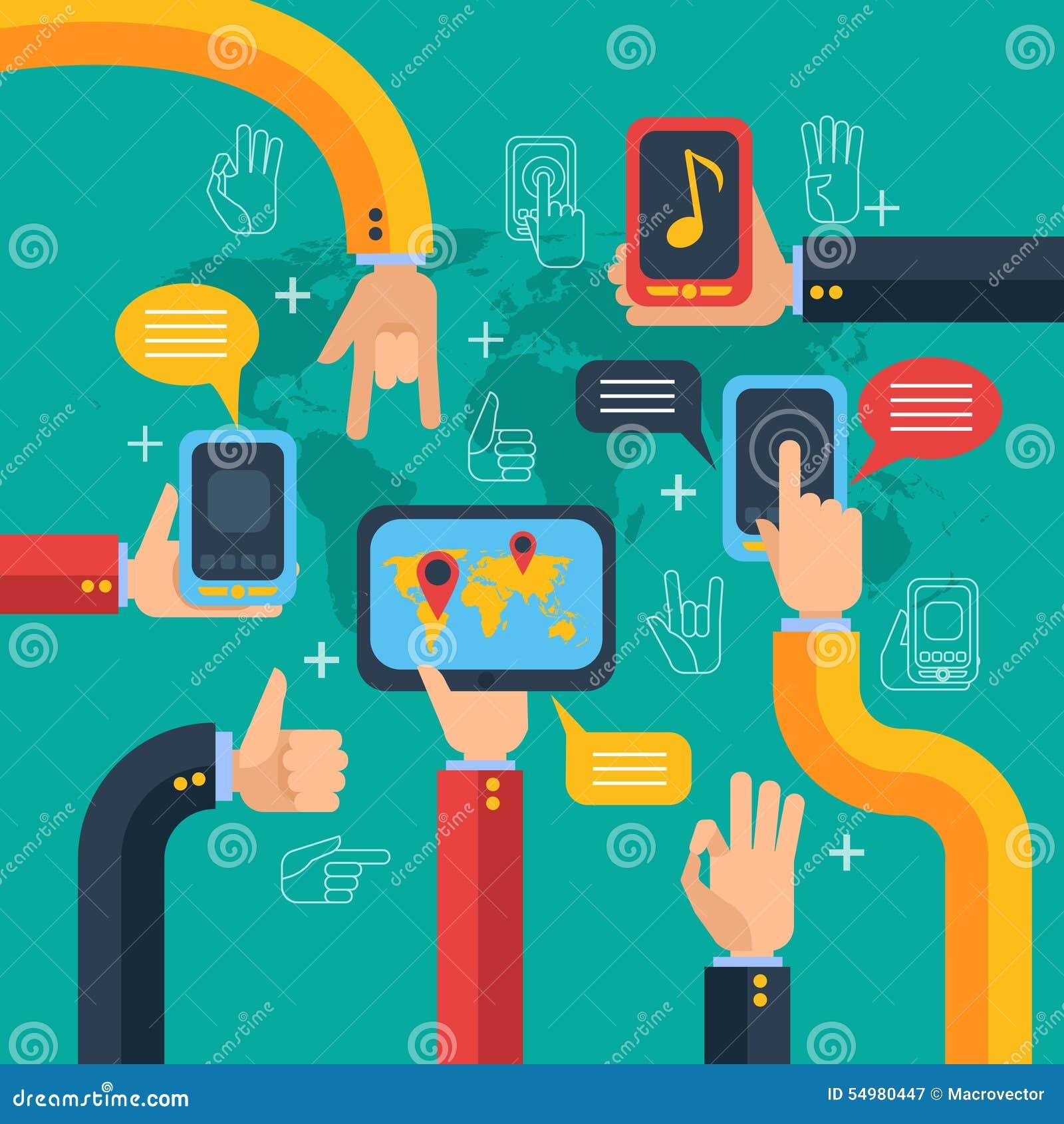 Hand- och telefonpekskärmbegrepp