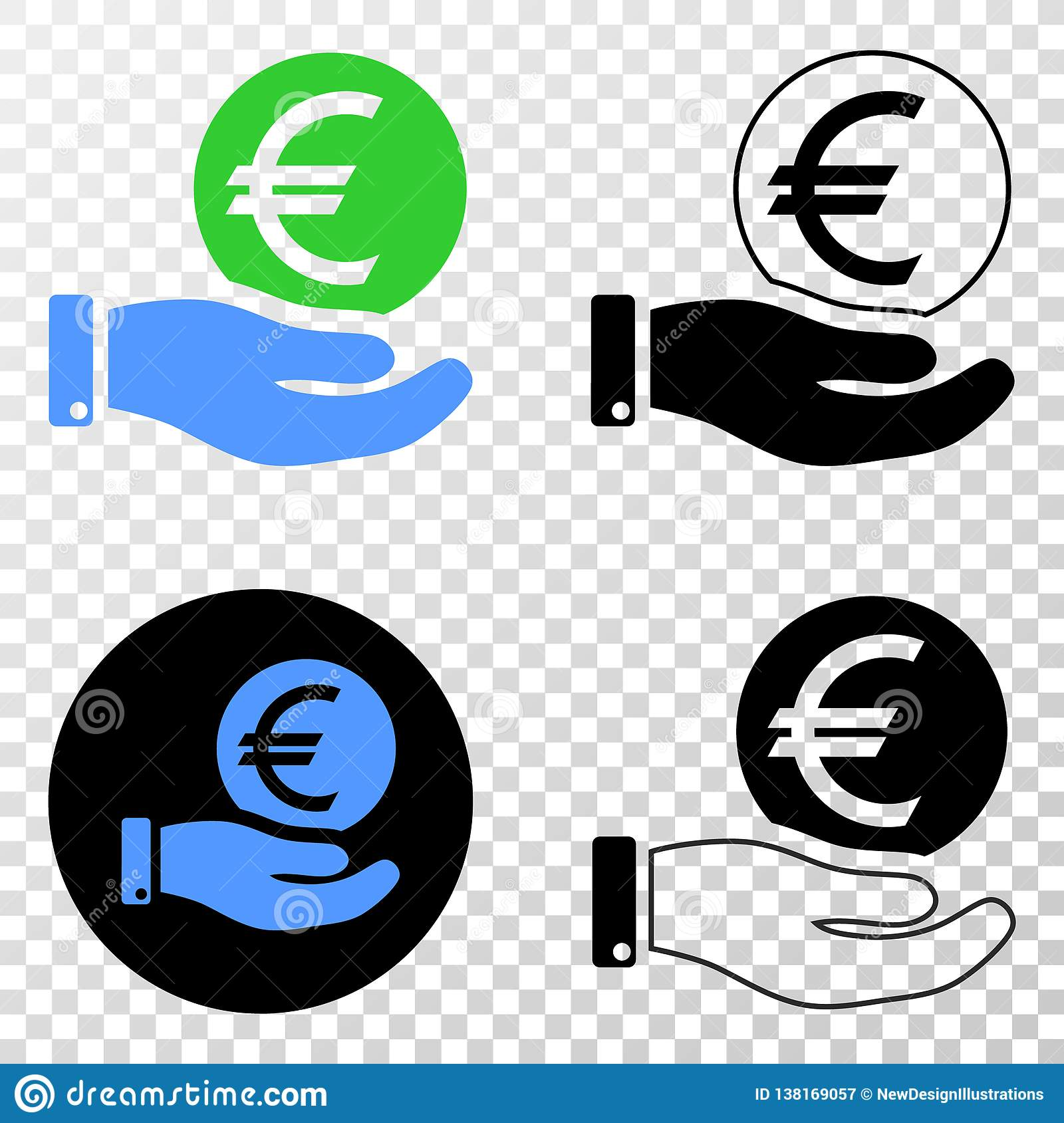 Hand Offer Euro Coin Vector EPS Icon With Contour Version Stock Vector -  Illustration of sticker, business: 138169057