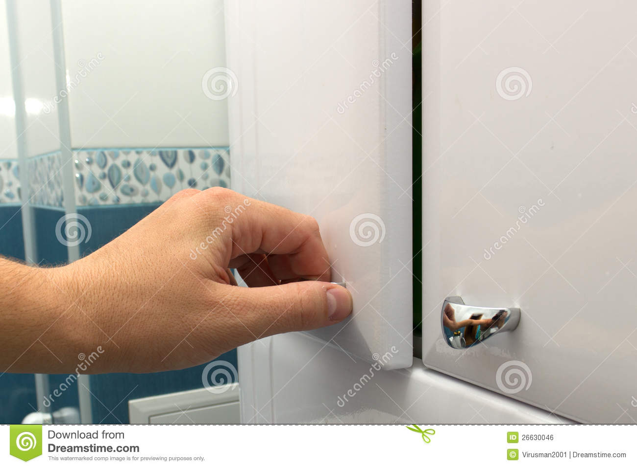 Hand Opening A Cabinet Door Stock Photo Image 26630046