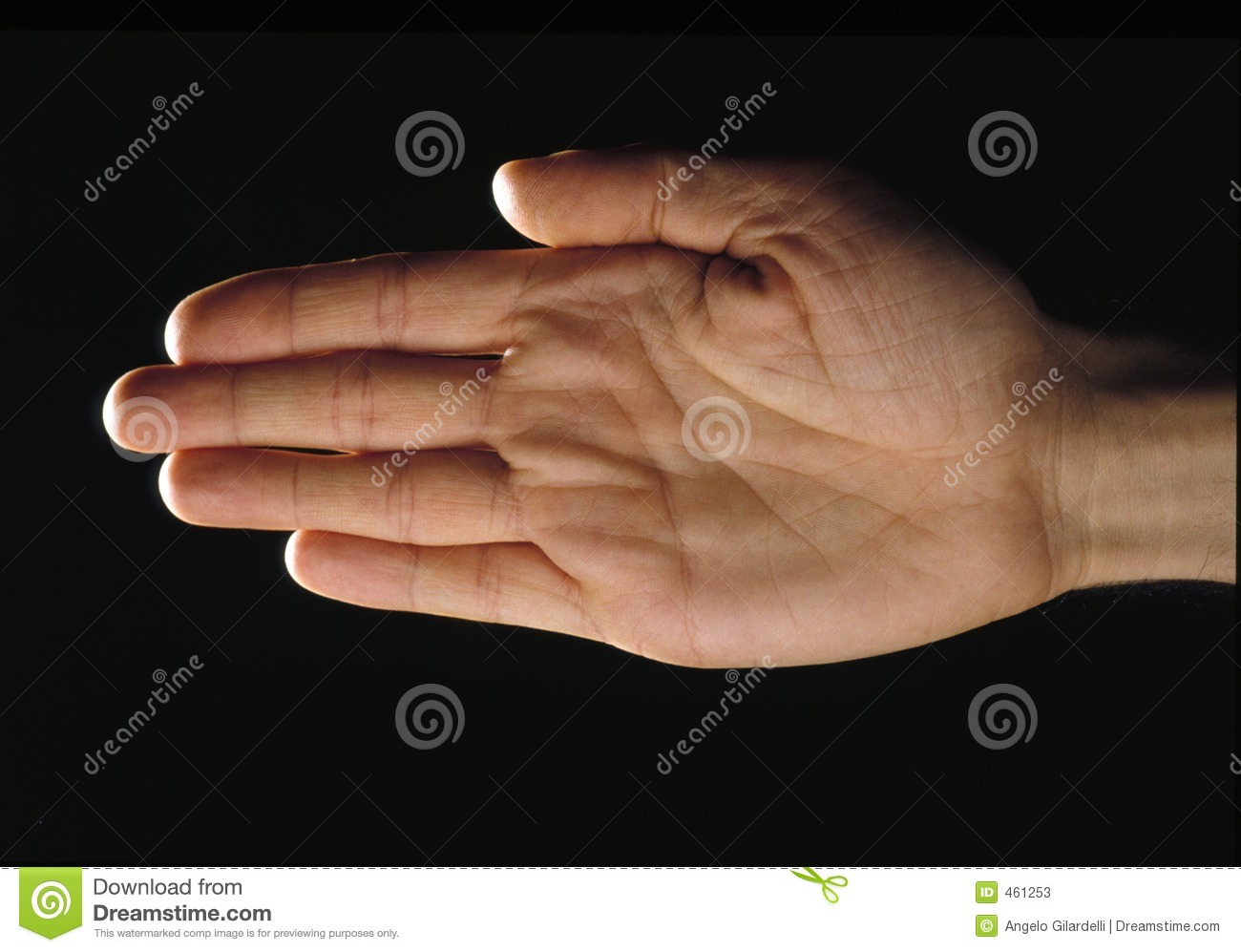 Hand over black-palm