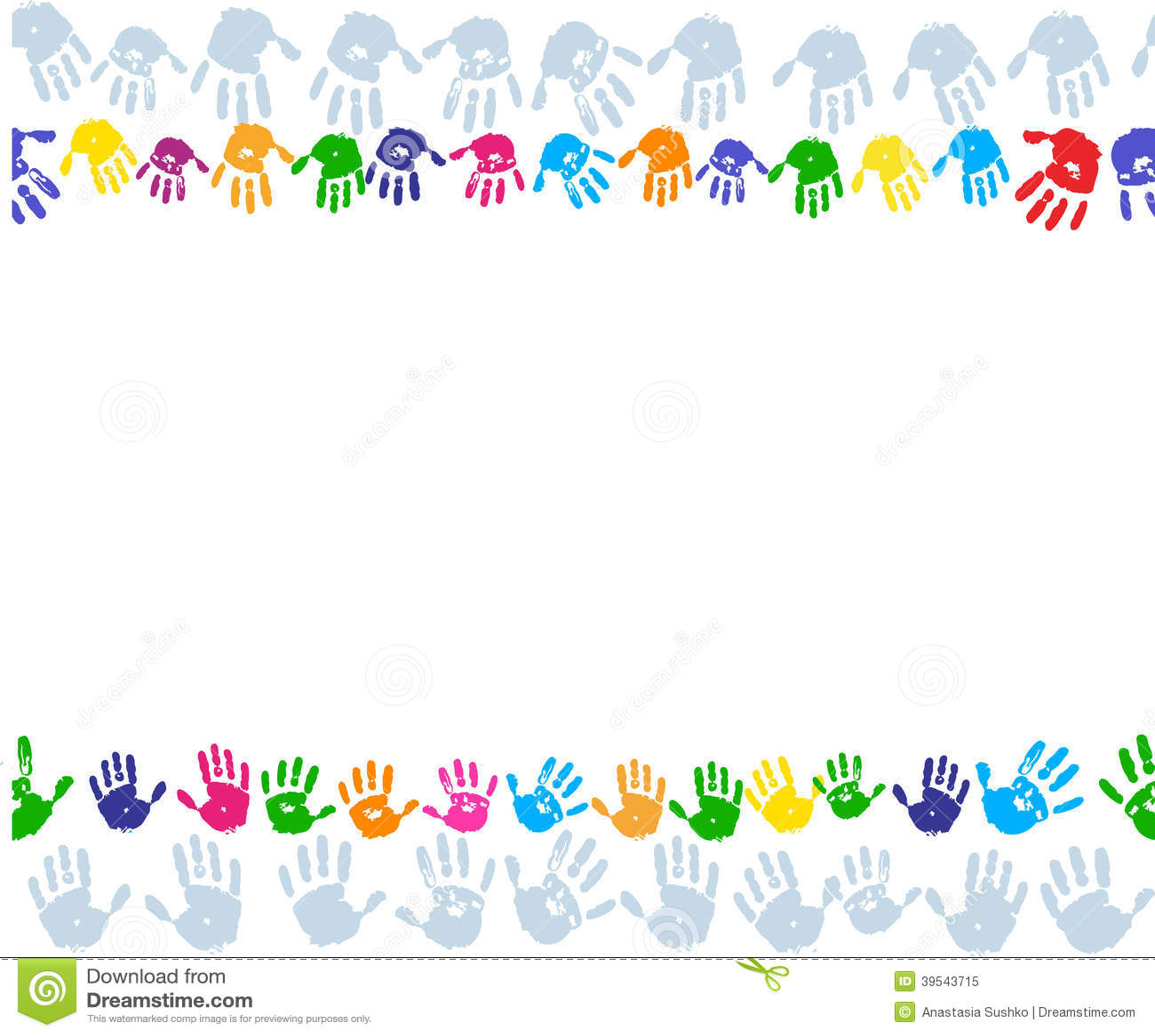 Hand paint print border Handprint Clipart Border