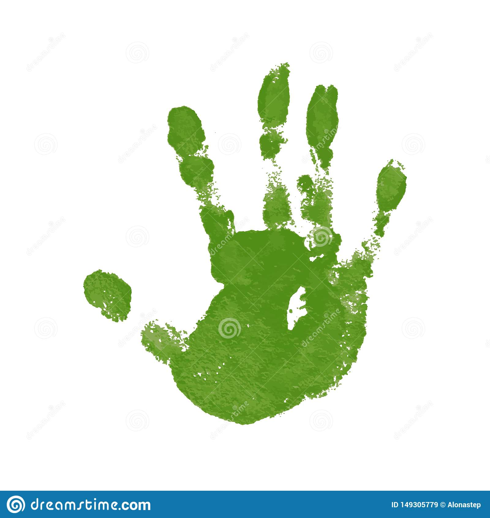 Hand paint print, isolated white background. Green human palm and fingers. Abstract art design, symbol identity people