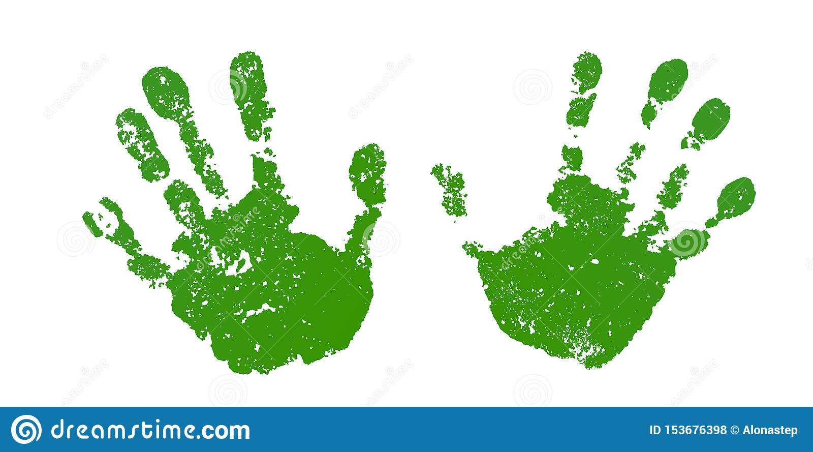 Hand paint print set, isolated white background. Color human palm and fingers. Abstract art design, symbol identity