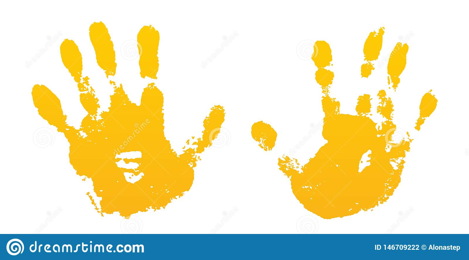 Hand paint print set, isolated white background. Yellow human palm, fingers. Abstract art design, symbol identity people