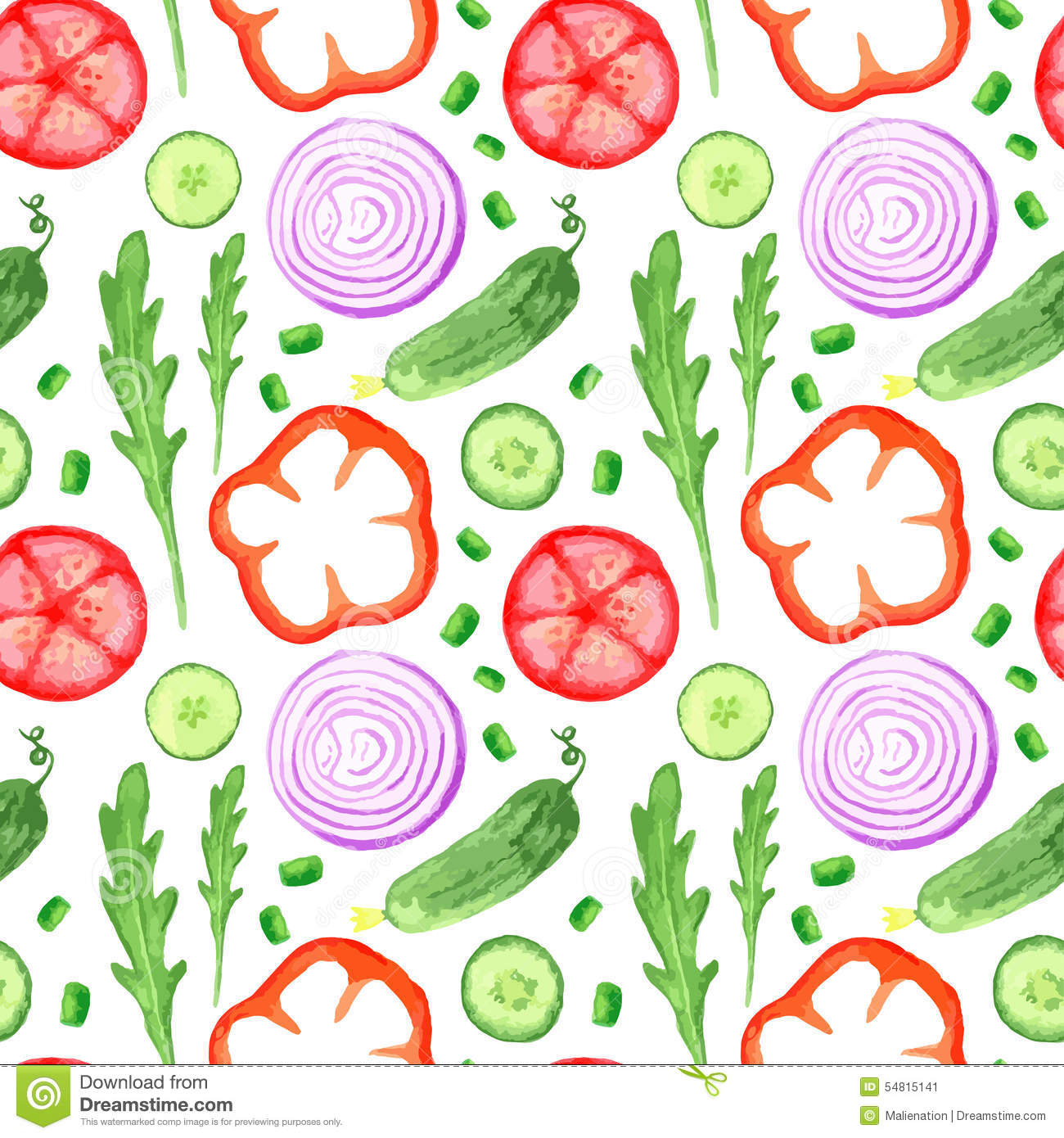 Hand paint watercolor seanless pattern with vegetables set eat local farm market rustic illustrations with a arugula, onion