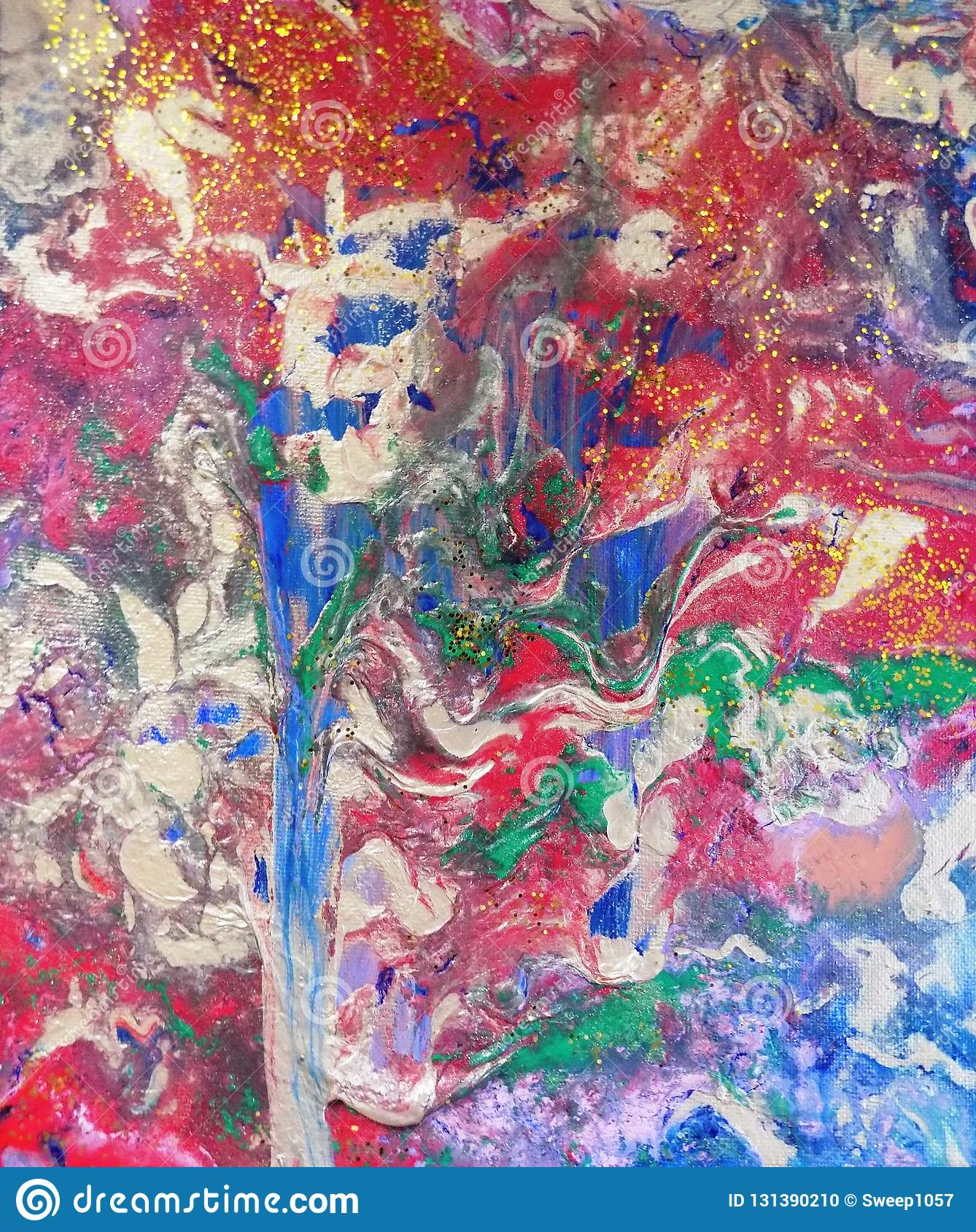 Hand painted Abstact, `Tree of Colours`