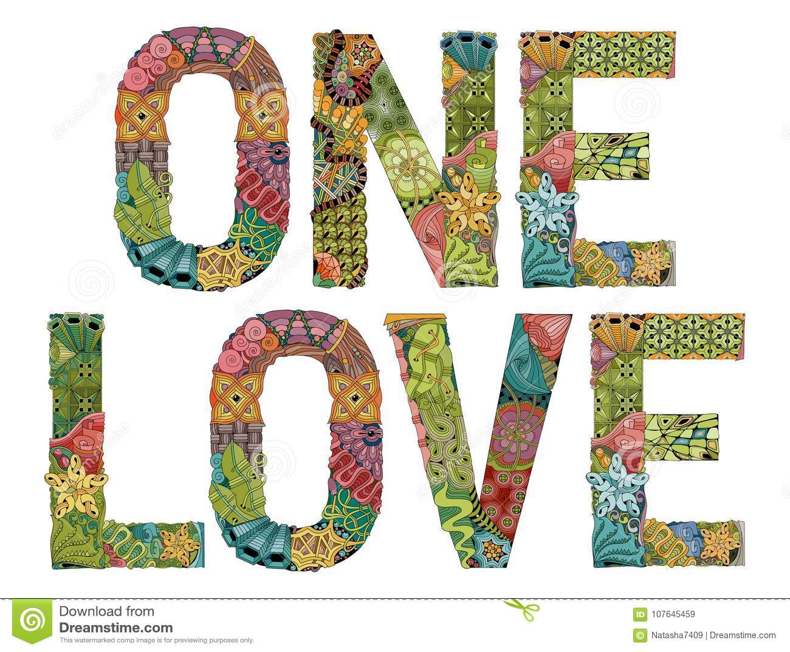 One love . Vector decorative zentangle object