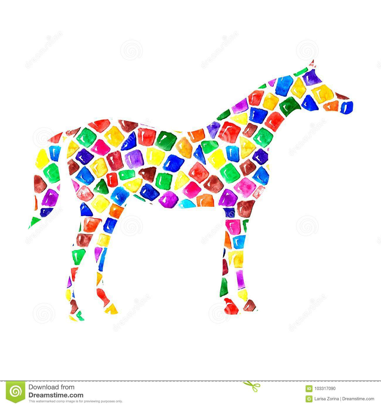 Arabian Horse Silhouette With Watercolor Bright Colorful Mosaic Pied Tile Texture On White Stock Illustration Illustration Of Fashion Champion 103317090