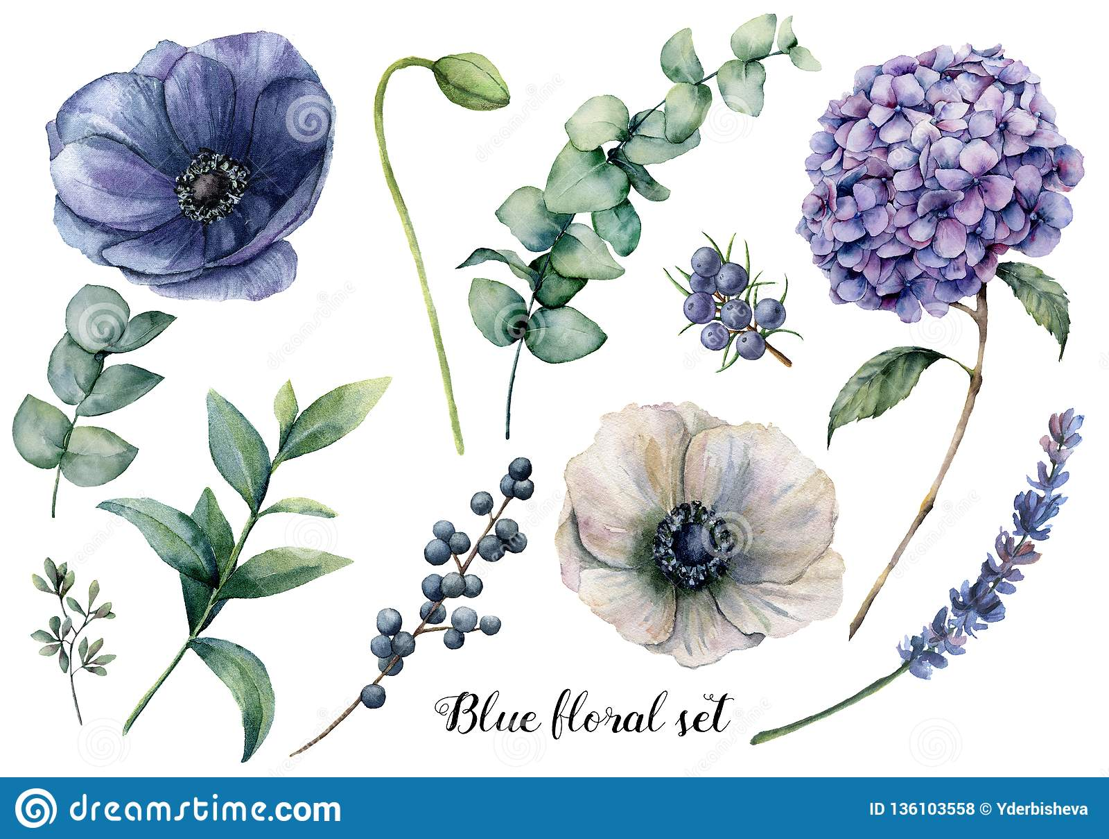 38774efaa22e2 Hand Painted Blue Floral Elements. Watercolor Botanical Illustration ...