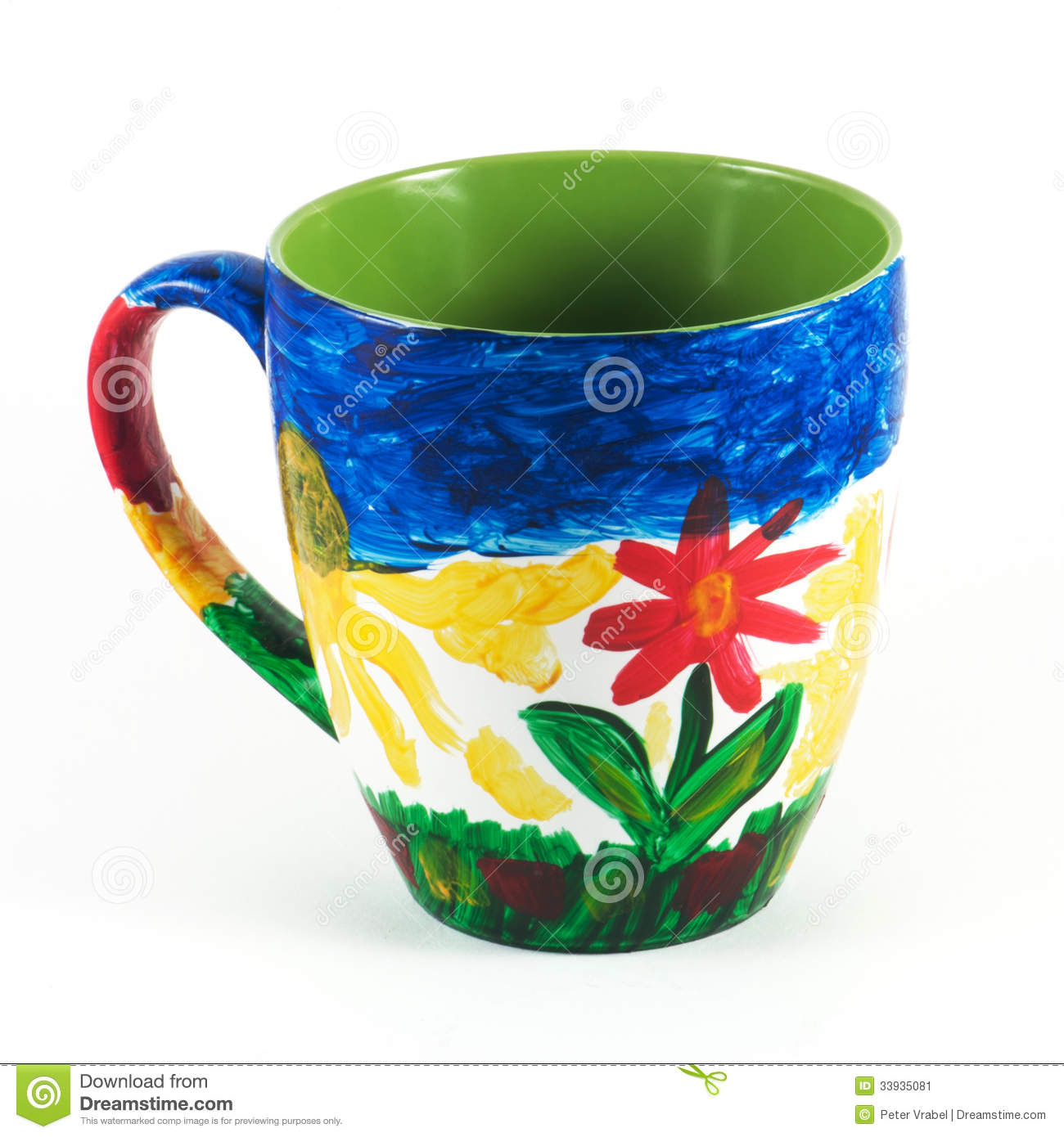 Hand painted ceramic mug stock image image of colors for Can ceramic be painted