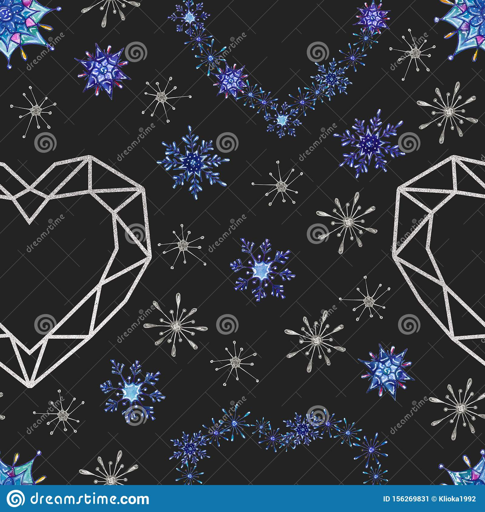 Hand painted Christmas watercolor snowflakes seamless pattern.