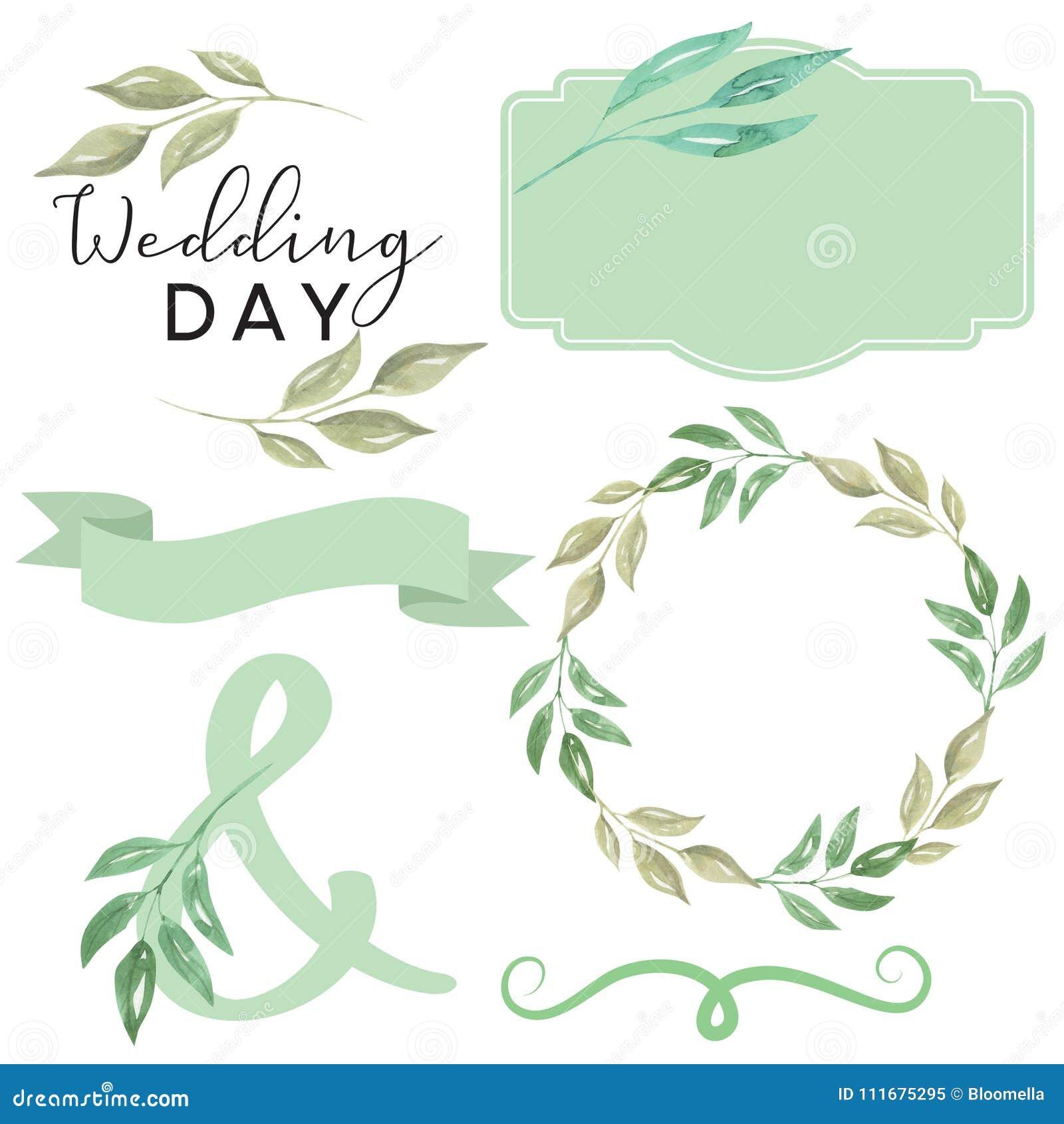 watercolor wedding day foliage leaves leaf scroll banner wreath