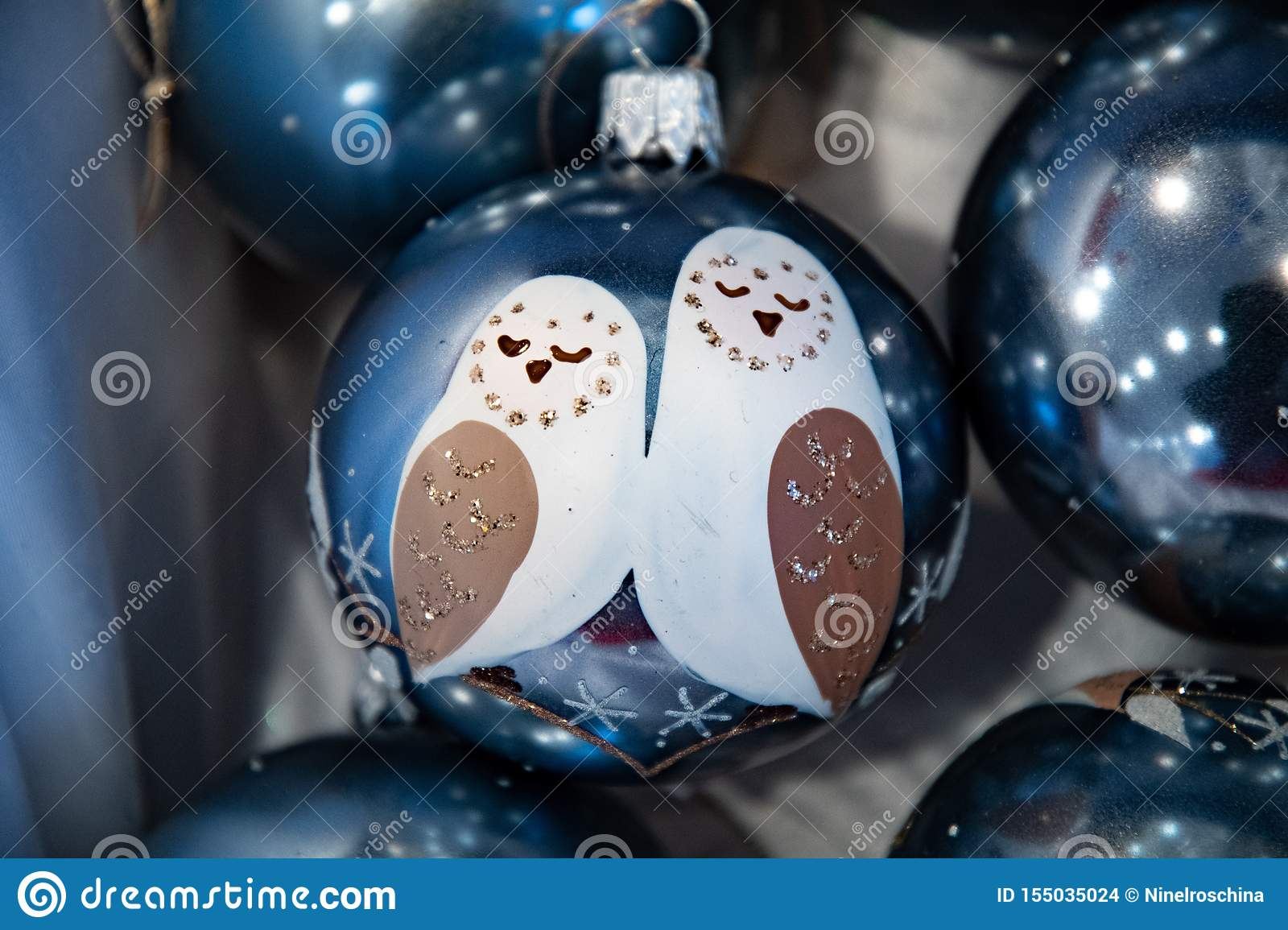 Fairytale Christmas Decorations.Hand Painted Glass Ball With Two White Owls Fairytale