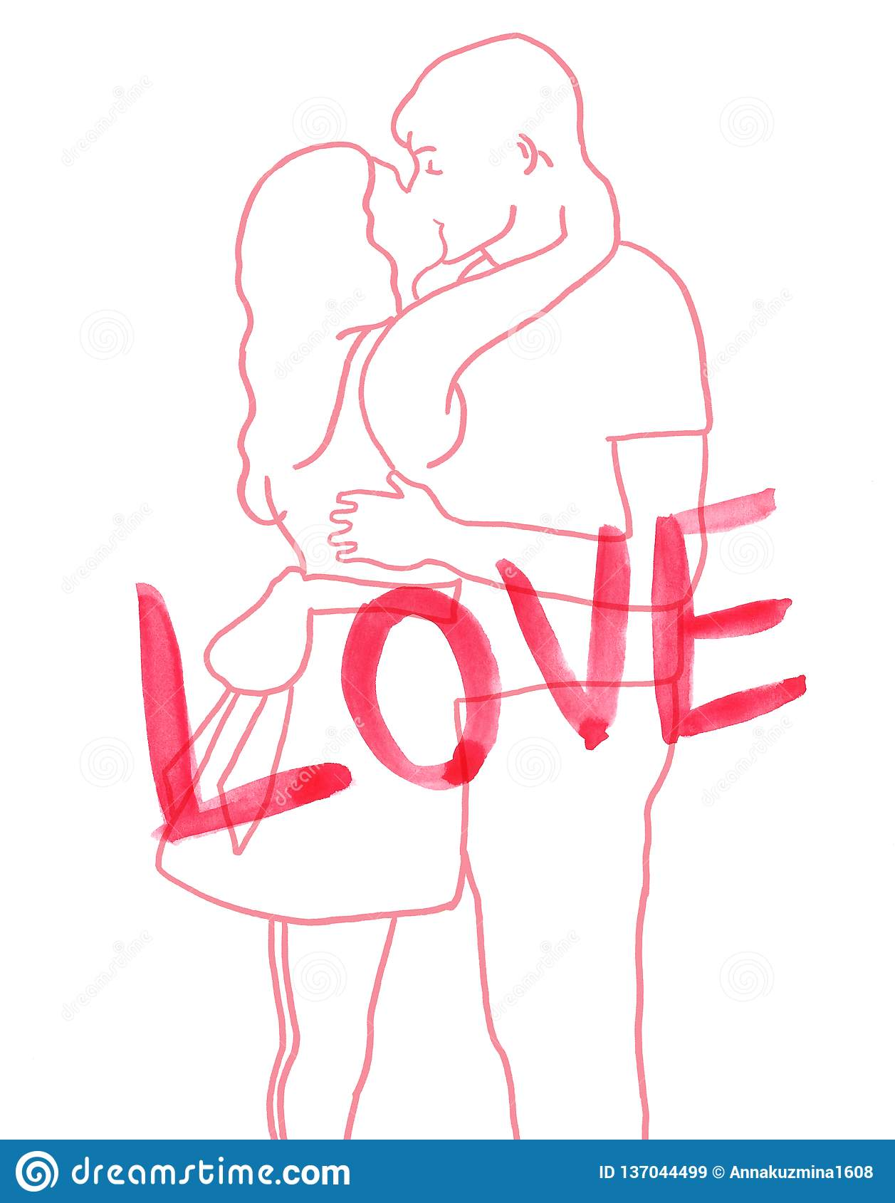 Hand painted illustration of hugging and kissing romantic couple with word love line ink sketch
