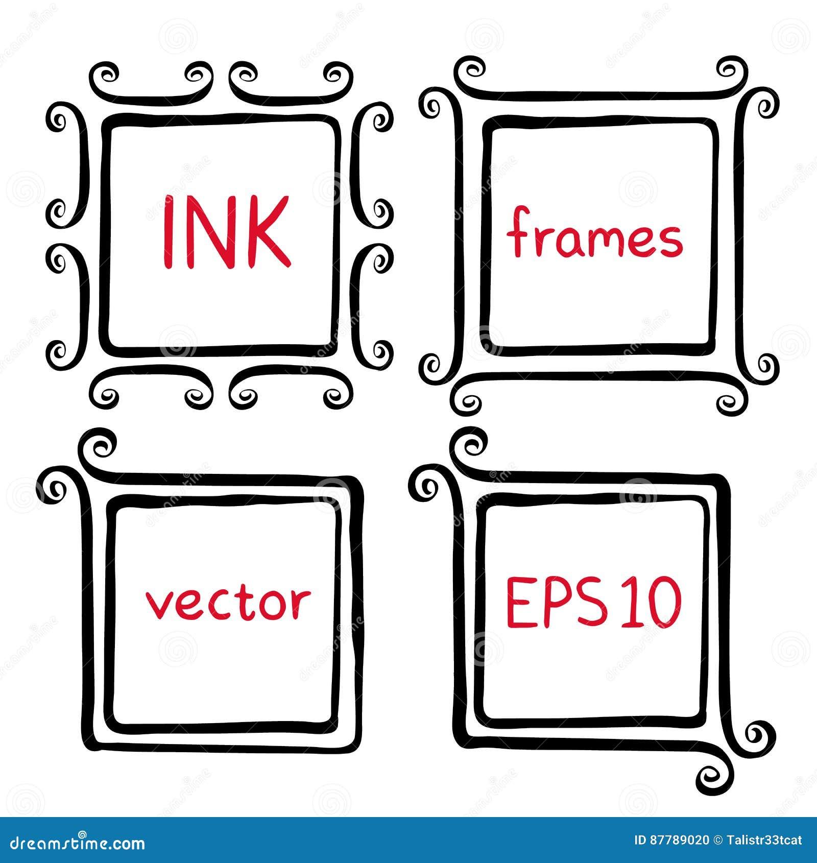 Hand painted ink frames stock vector. Illustration of divider - 87789020