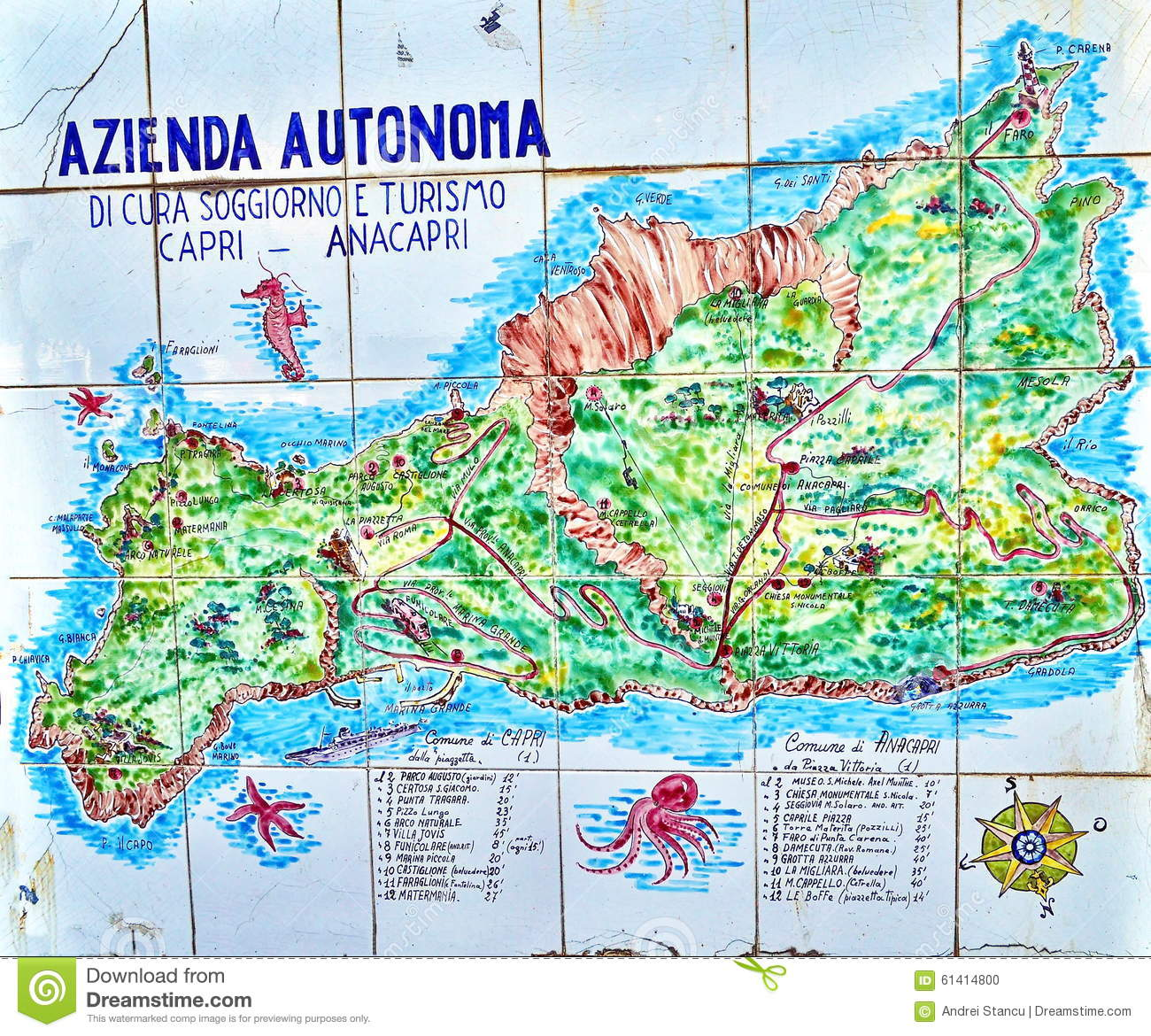Hand Painted Map Of Capri Island Editorial Image - Image of ...