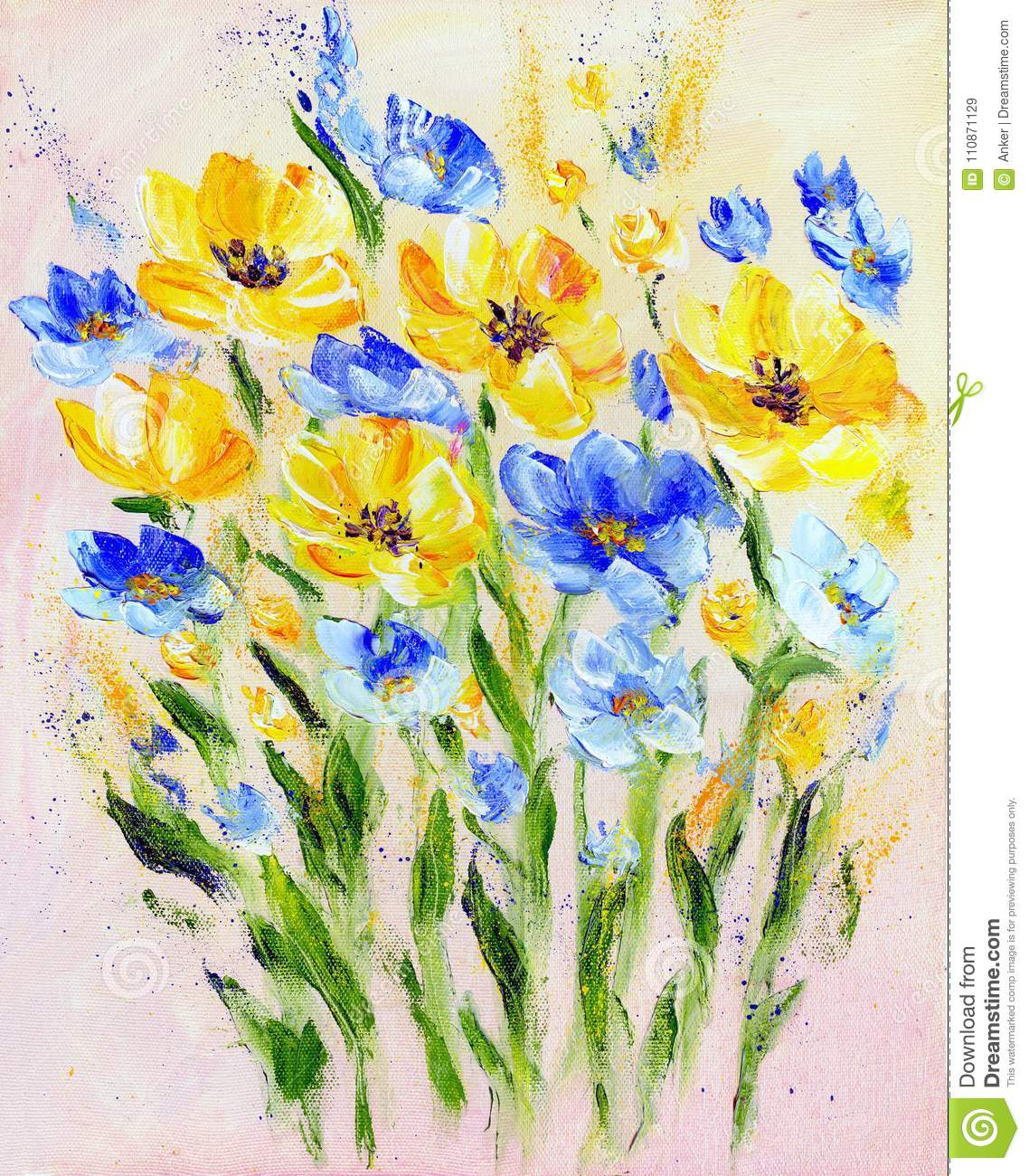 Hand Painted Modern Style Yellow And Blue Flowers Stock Illustration