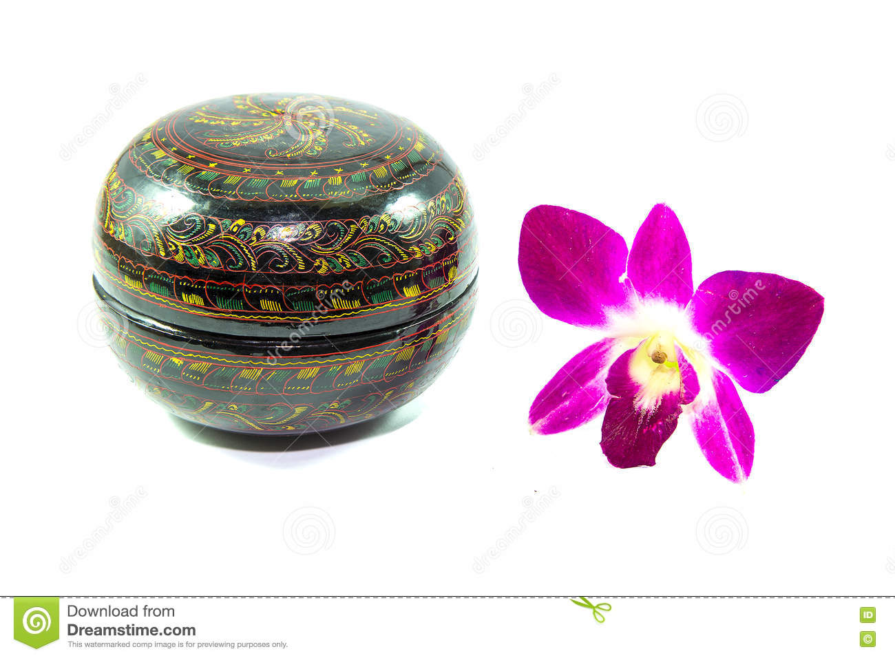 Hand Painted Paper Mache Bowl With Purple Orchid Flower Isolated