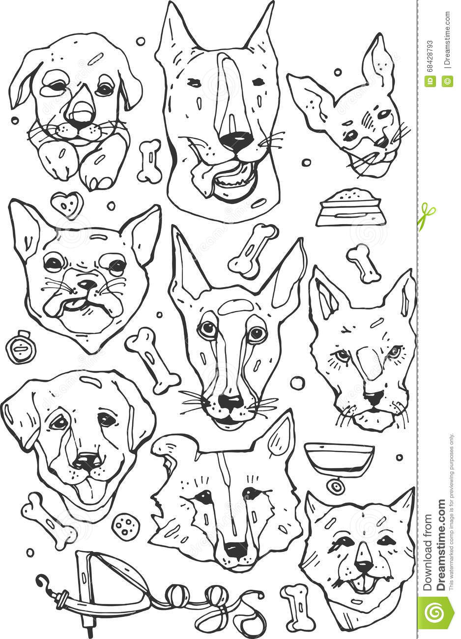Hand Painted Set Of Doodle Icons Different Breeds Of Dogs Bulldog