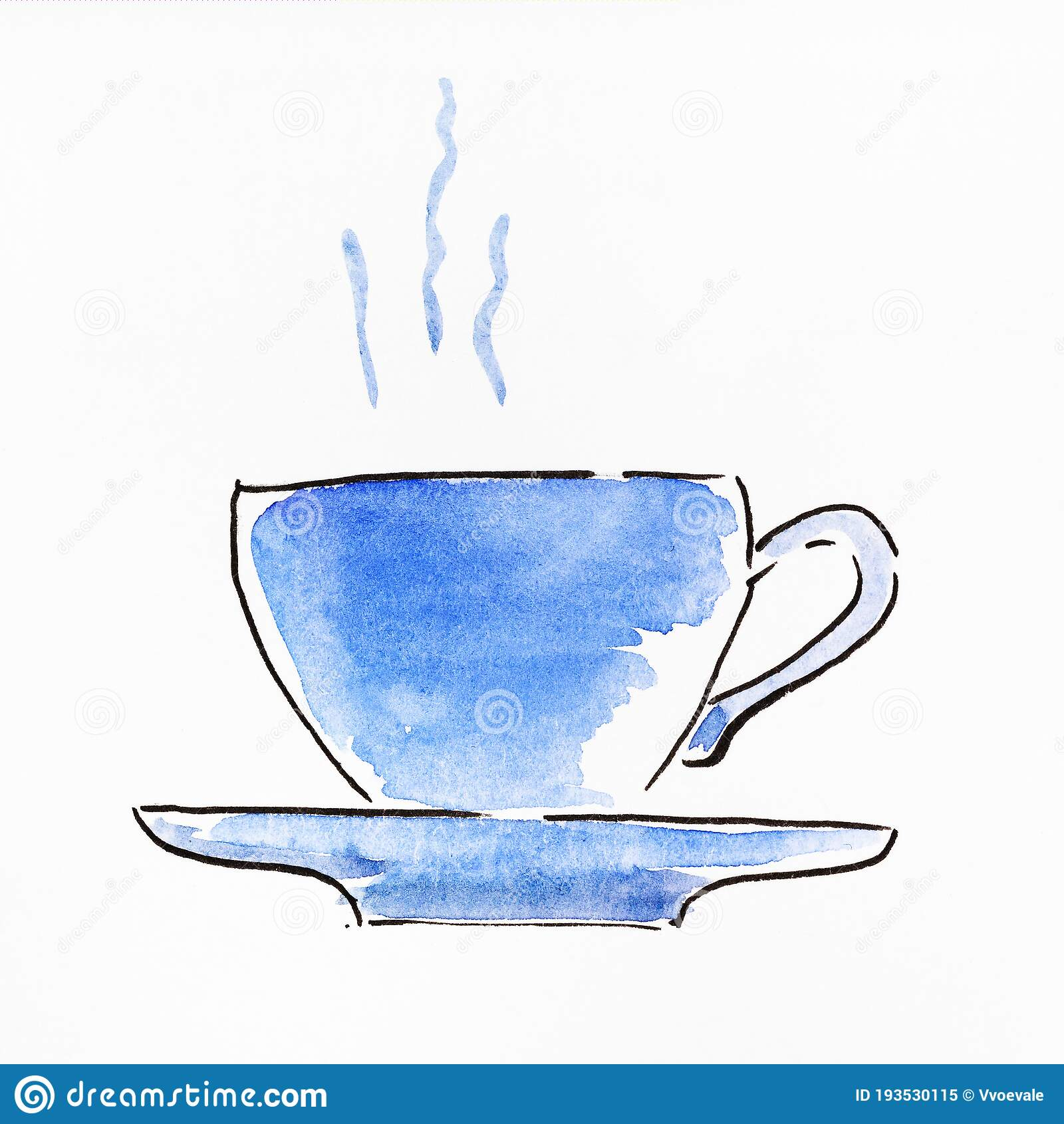 Hand Painted Side View Of Tea Cup And Saucer Stock Illustration Illustration Of Paper Steam 193530115